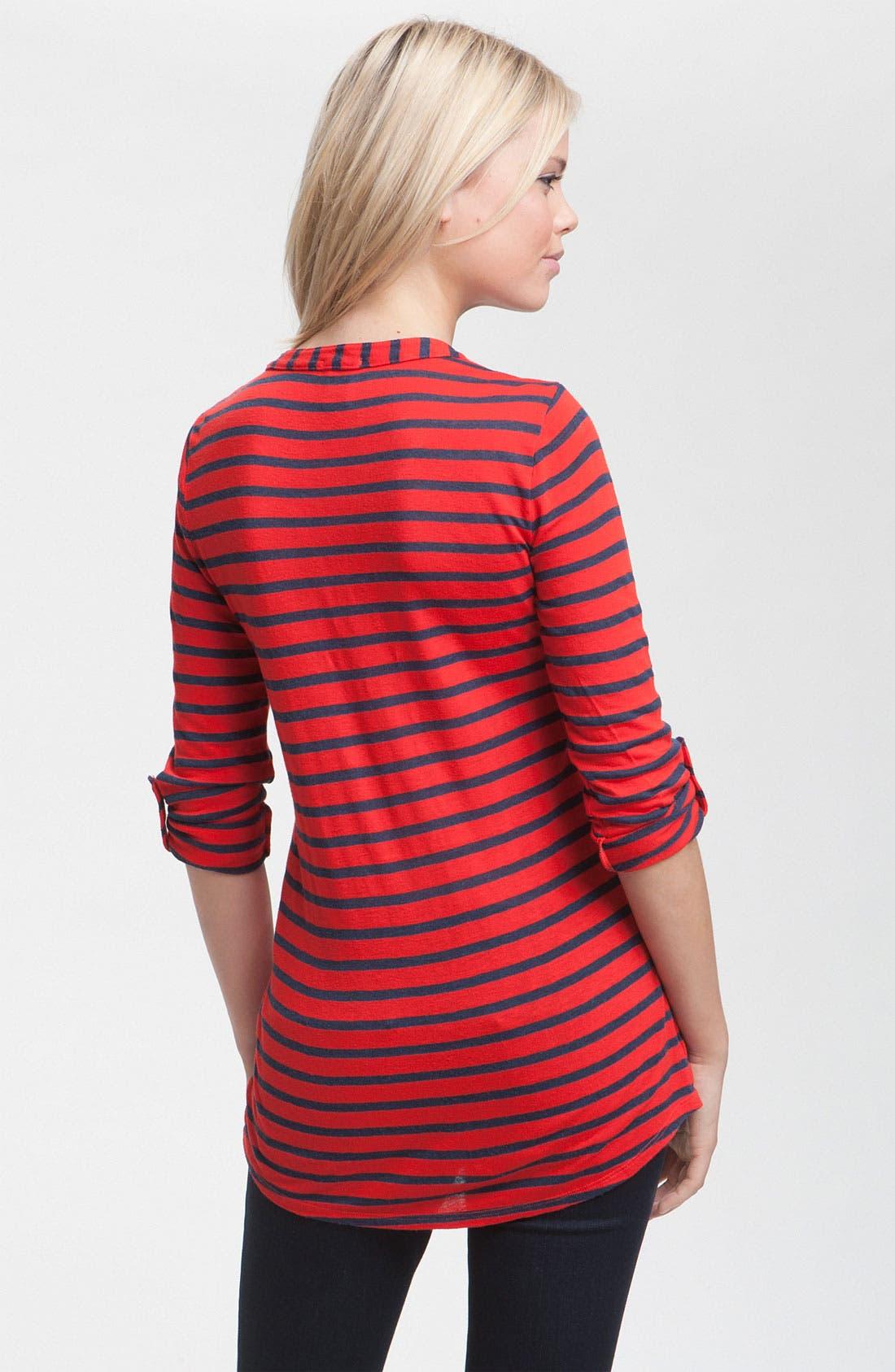 Alternate Image 2  - Ella Moss Ruched Notch Neck Stripe Tunic