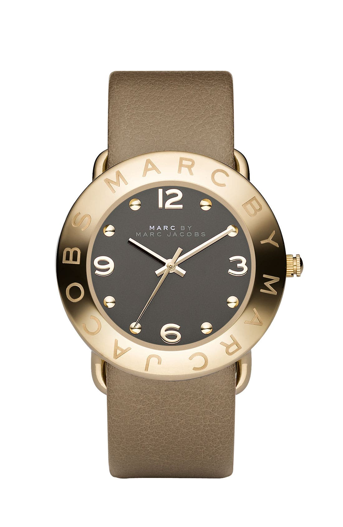 'Amy' Leather Strap Watch, 36mm,                         Main,                         color, Gold/ Grey