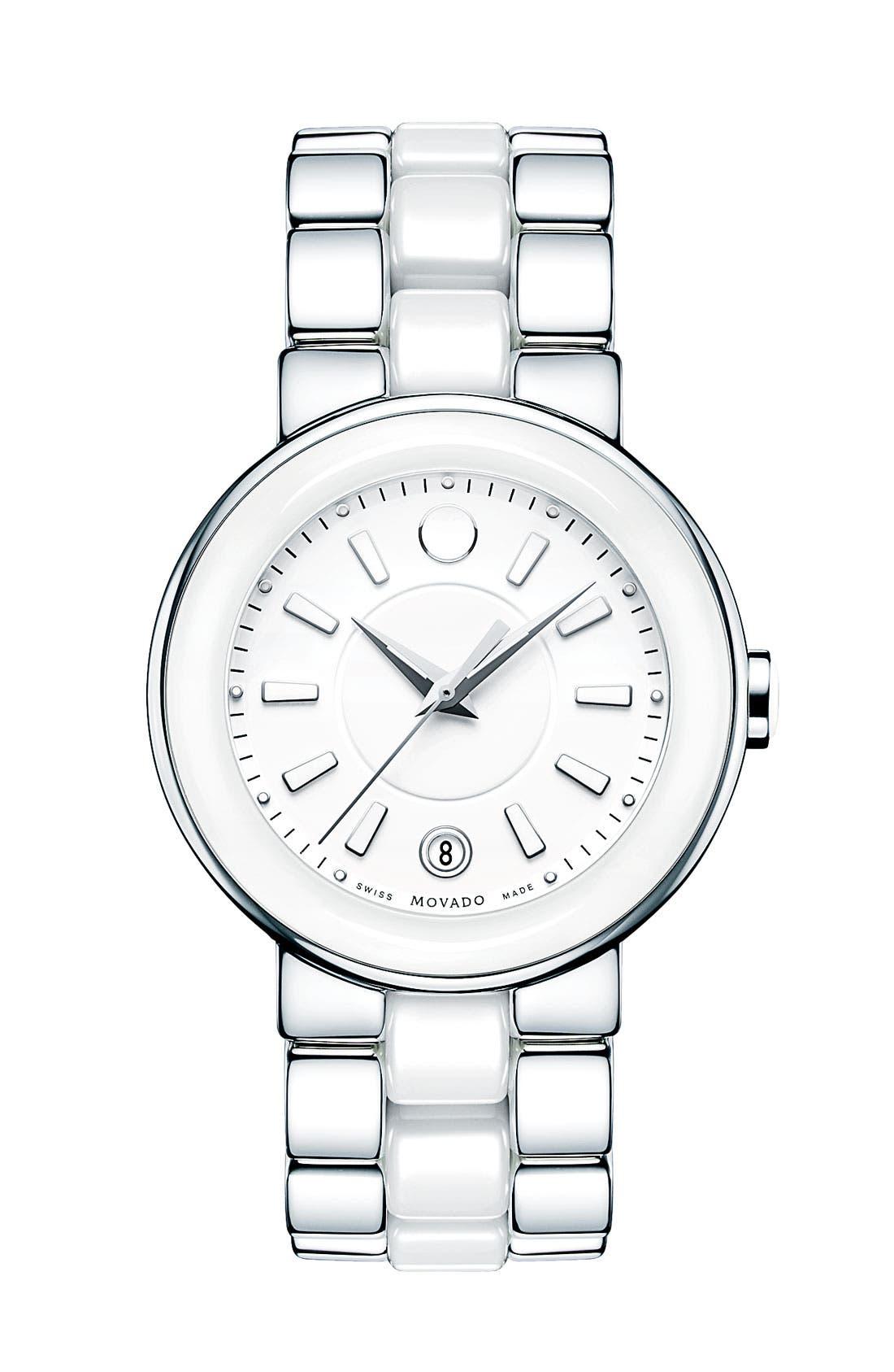 Alternate Image 1 Selected - Movado 'Cerena' Ceramic & Steel Bracelet Watch, 36mm