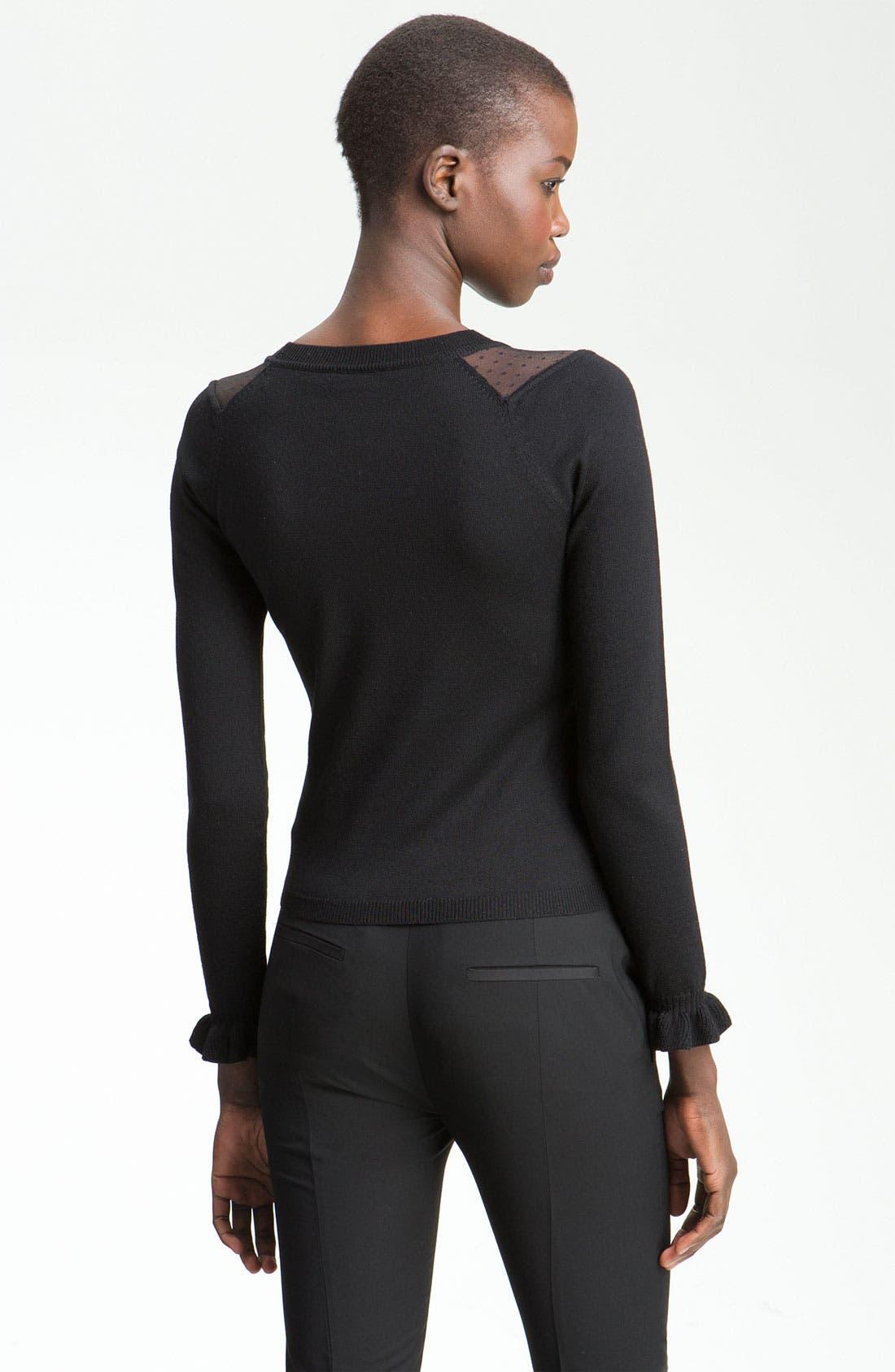 Alternate Image 2  - RED Valentino Point d'Esprit Inset Sweater