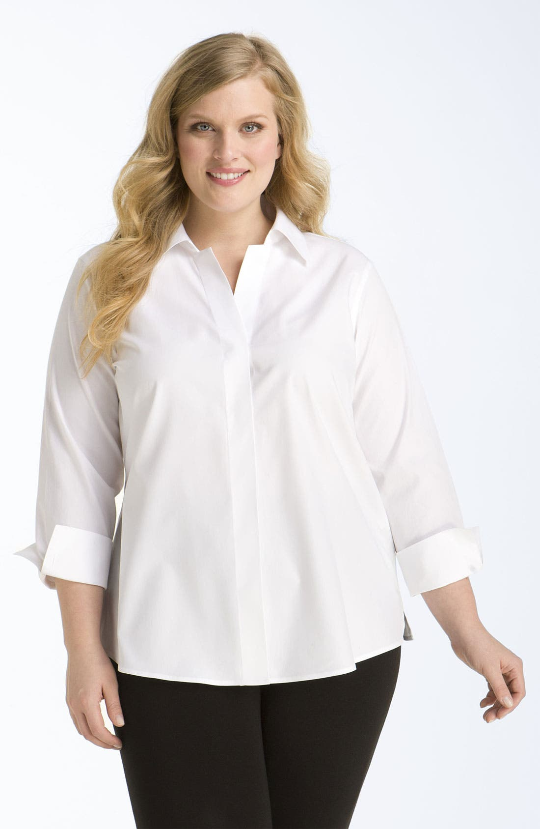 Alternate Image 1 Selected - Foxcroft Wrinkle Free Shaped Shirt (Plus Size)