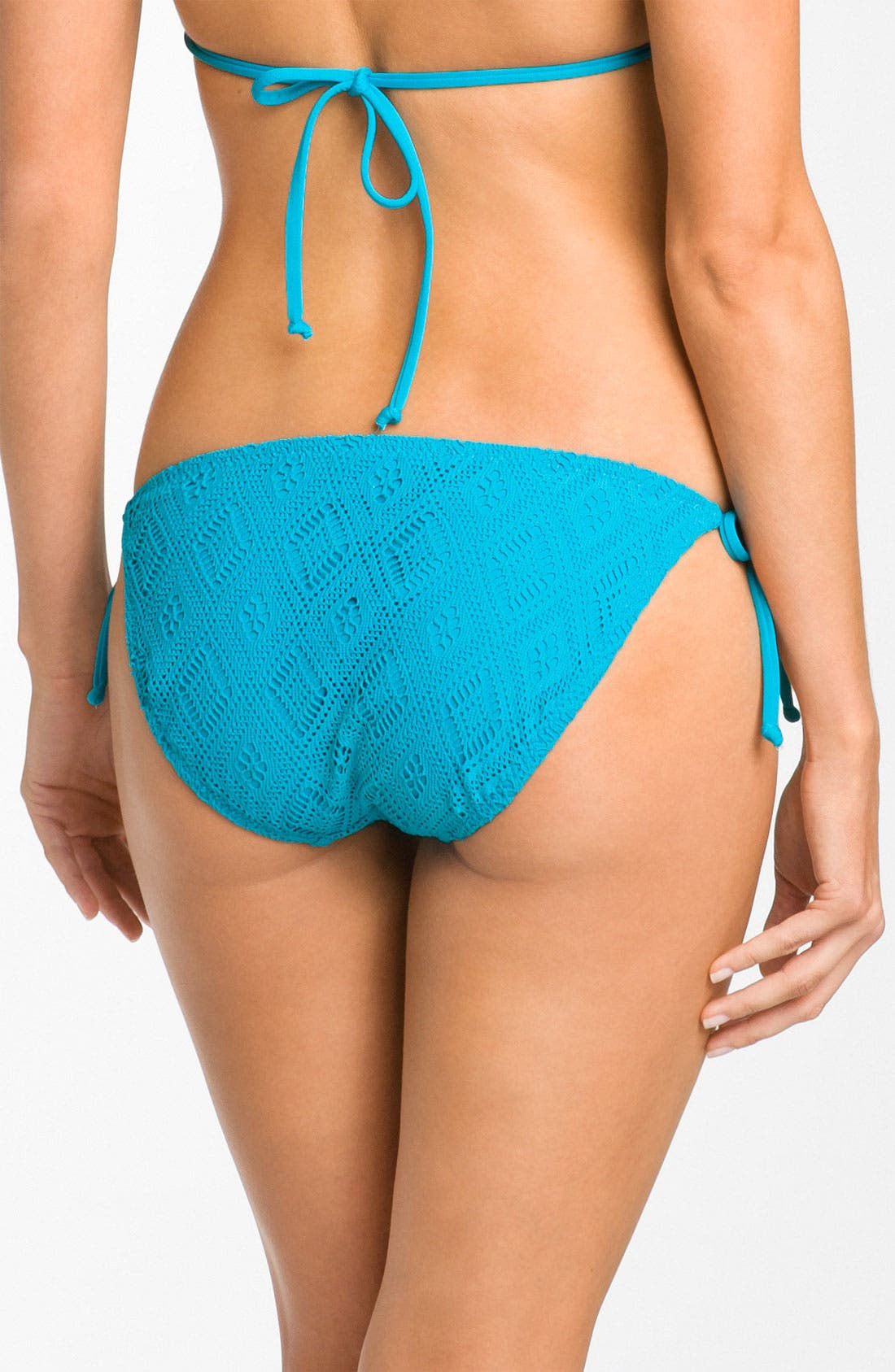 Alternate Image 2  - Becca Crochet Side Tie Bikini Bottoms