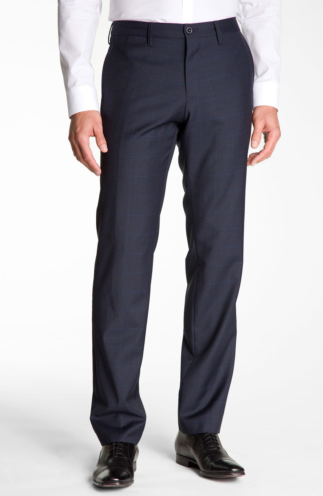Main Image - BOSS Black 'Crigan' Patterned Flat Front Wool Trousers