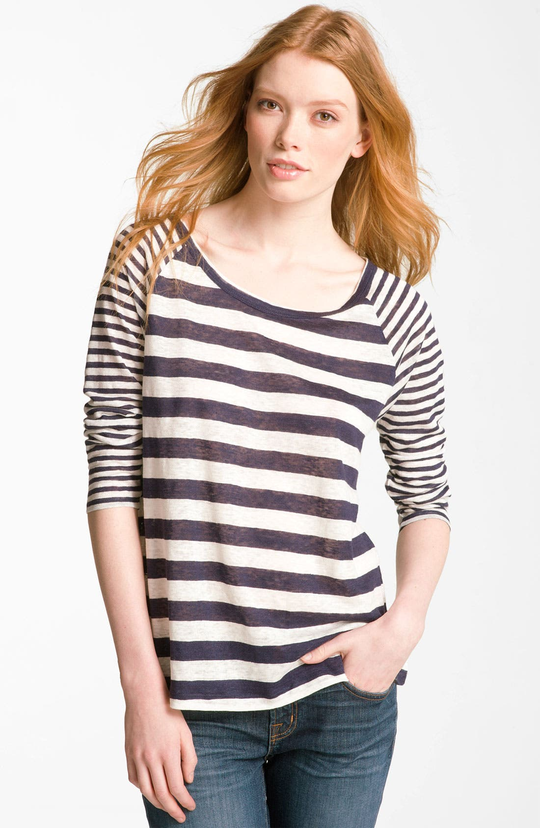 Alternate Image 1 Selected - Joie 'Gloriosa' Sheer Stripe Raglan Top