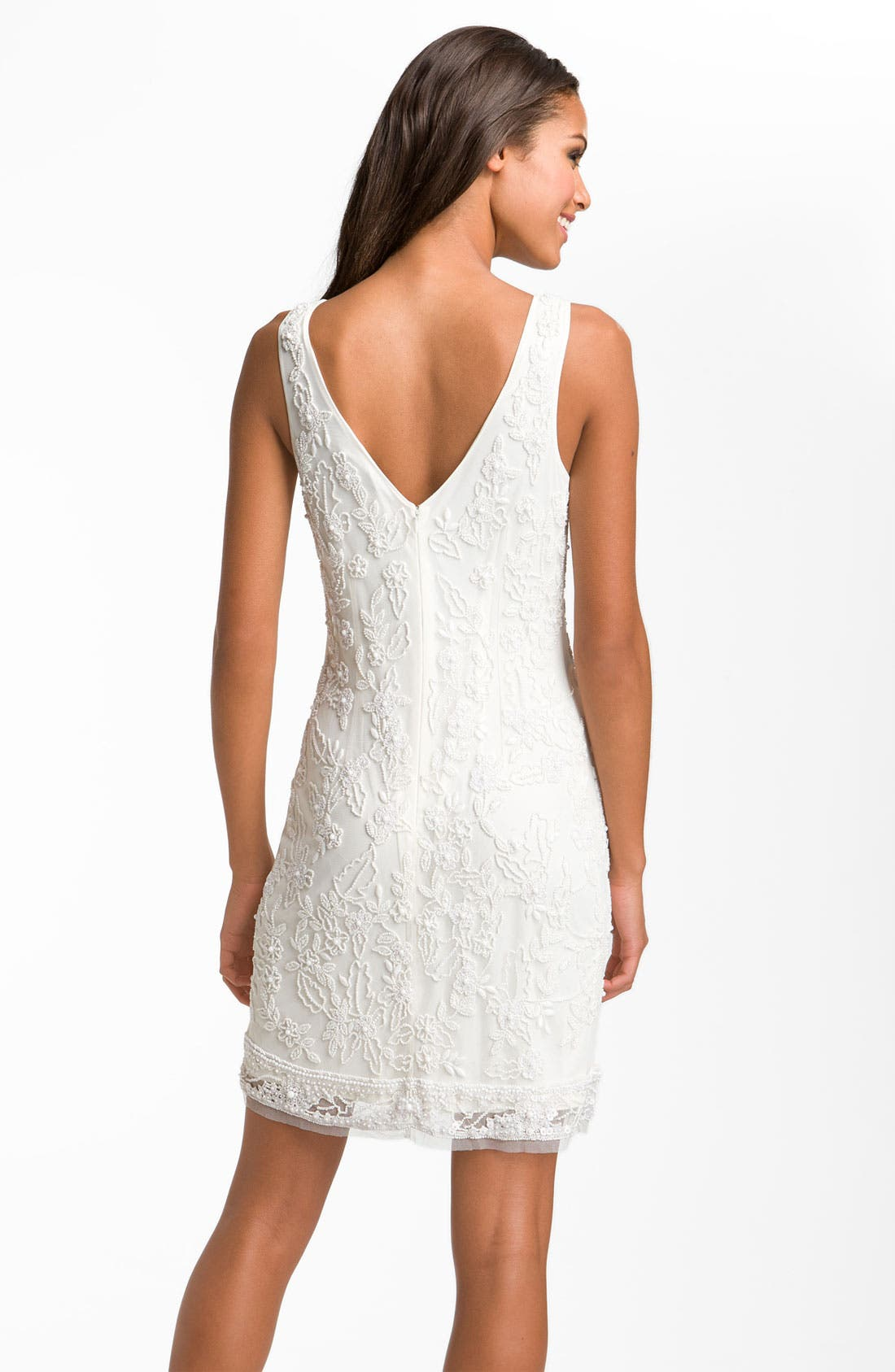 Alternate Image 2  - Aidan Mattox Sleeveless V-Back Beaded Sheath Dress