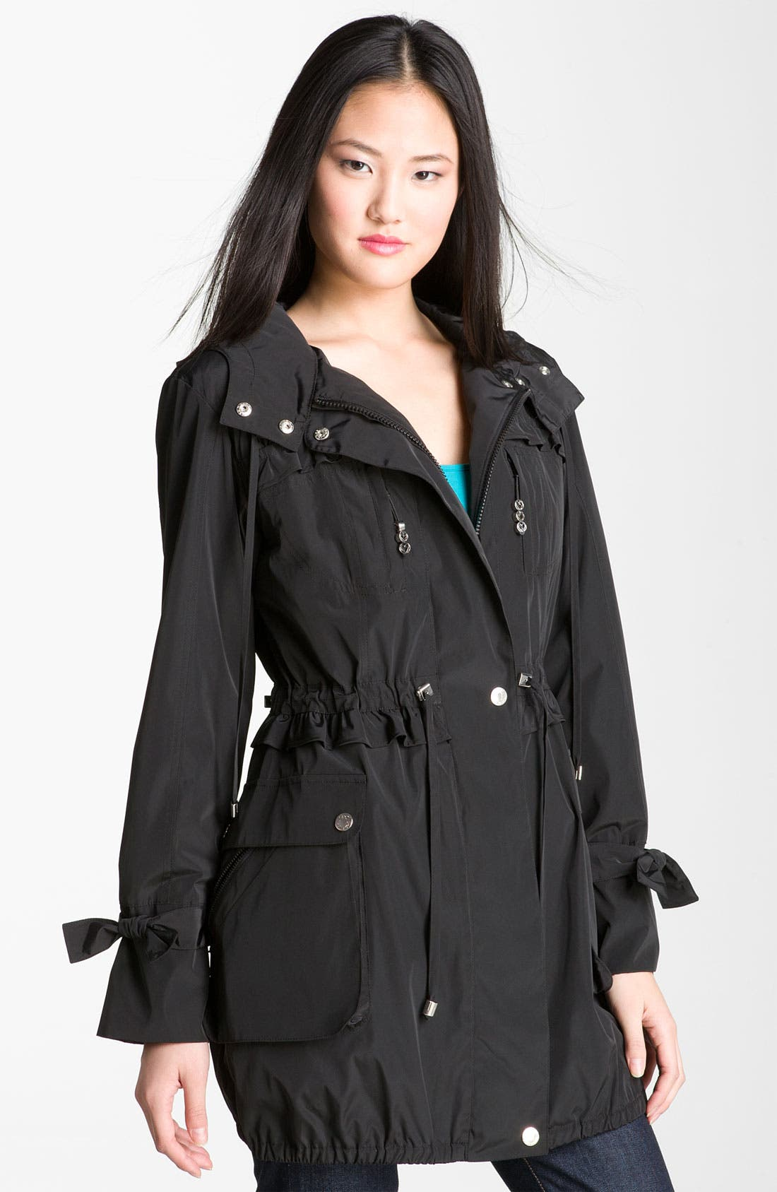 Alternate Image 1 Selected - Betsey Johnson Ruffle Trim Anorak with Detachable Liner