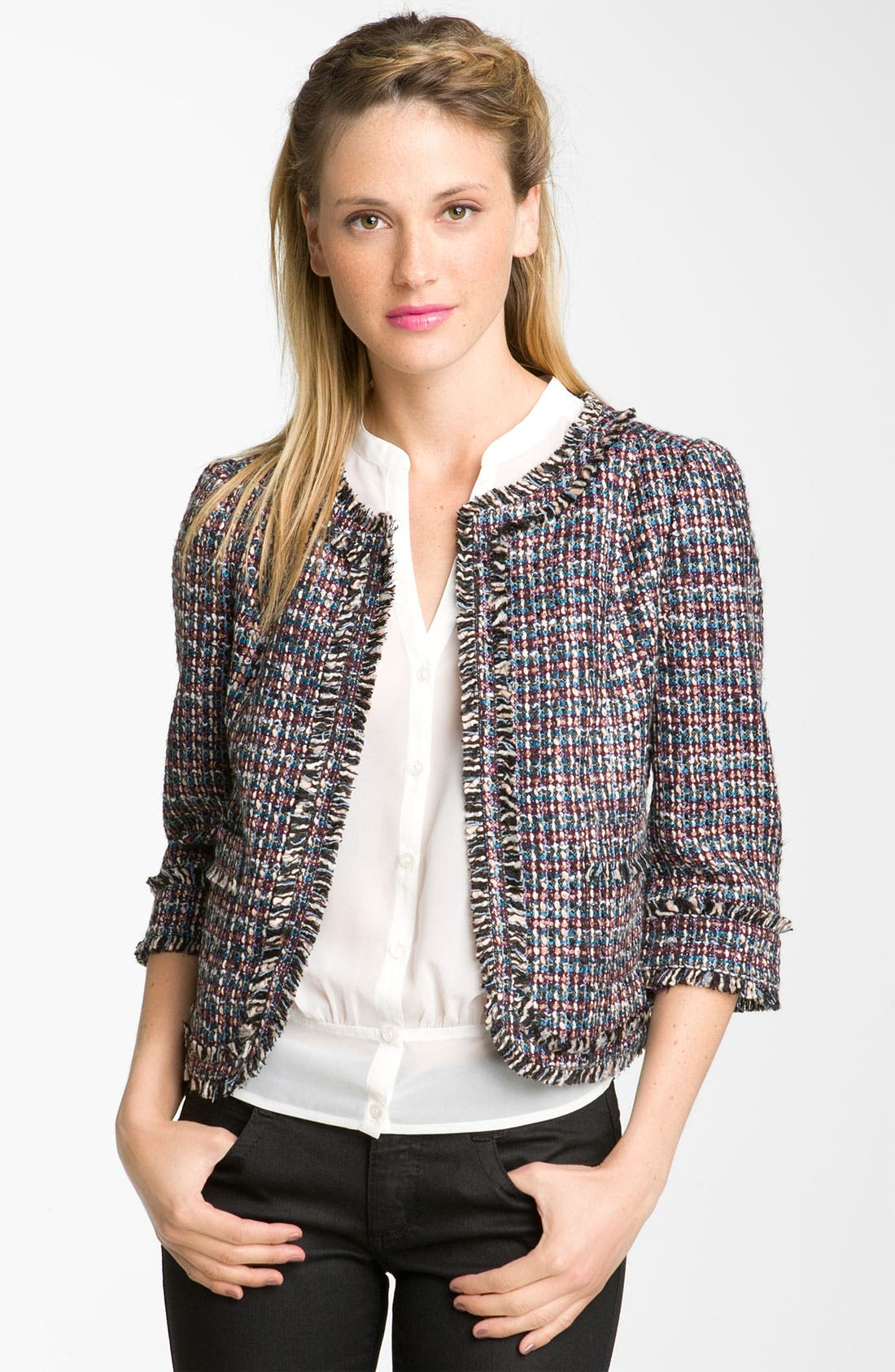 Alternate Image 1 Selected - Frenchi® 'Vanity' Tweed Jacket (Juniors)