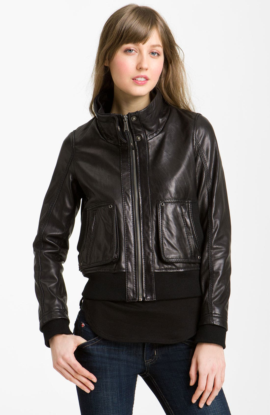 Alternate Image 1 Selected - MICHAEL Michael Kors Knit Trim Leather Bomber Jacket