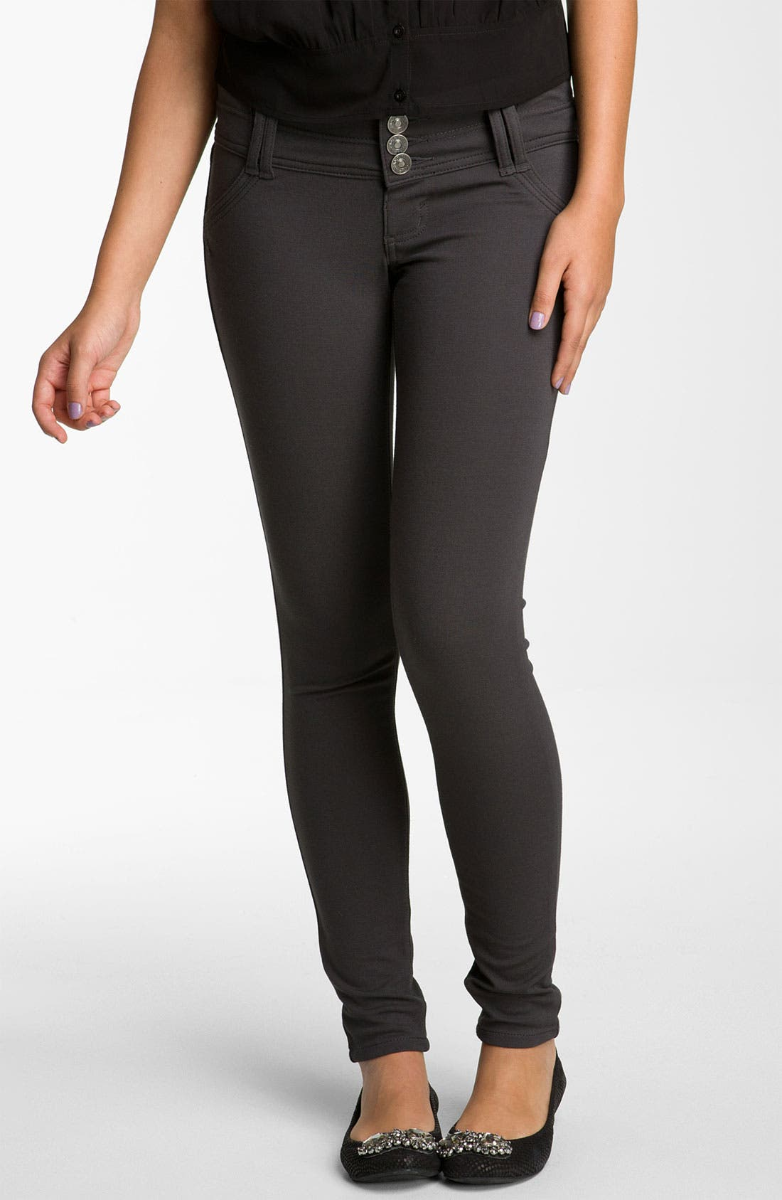 Alternate Image 2  - Jolt Ponte Skinny Pants (Juniors)