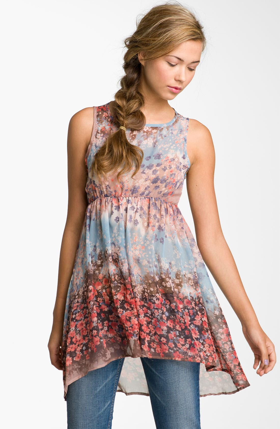 Alternate Image 1 Selected - Lily White Print Sheer Chiffon Tunic (Juniors)
