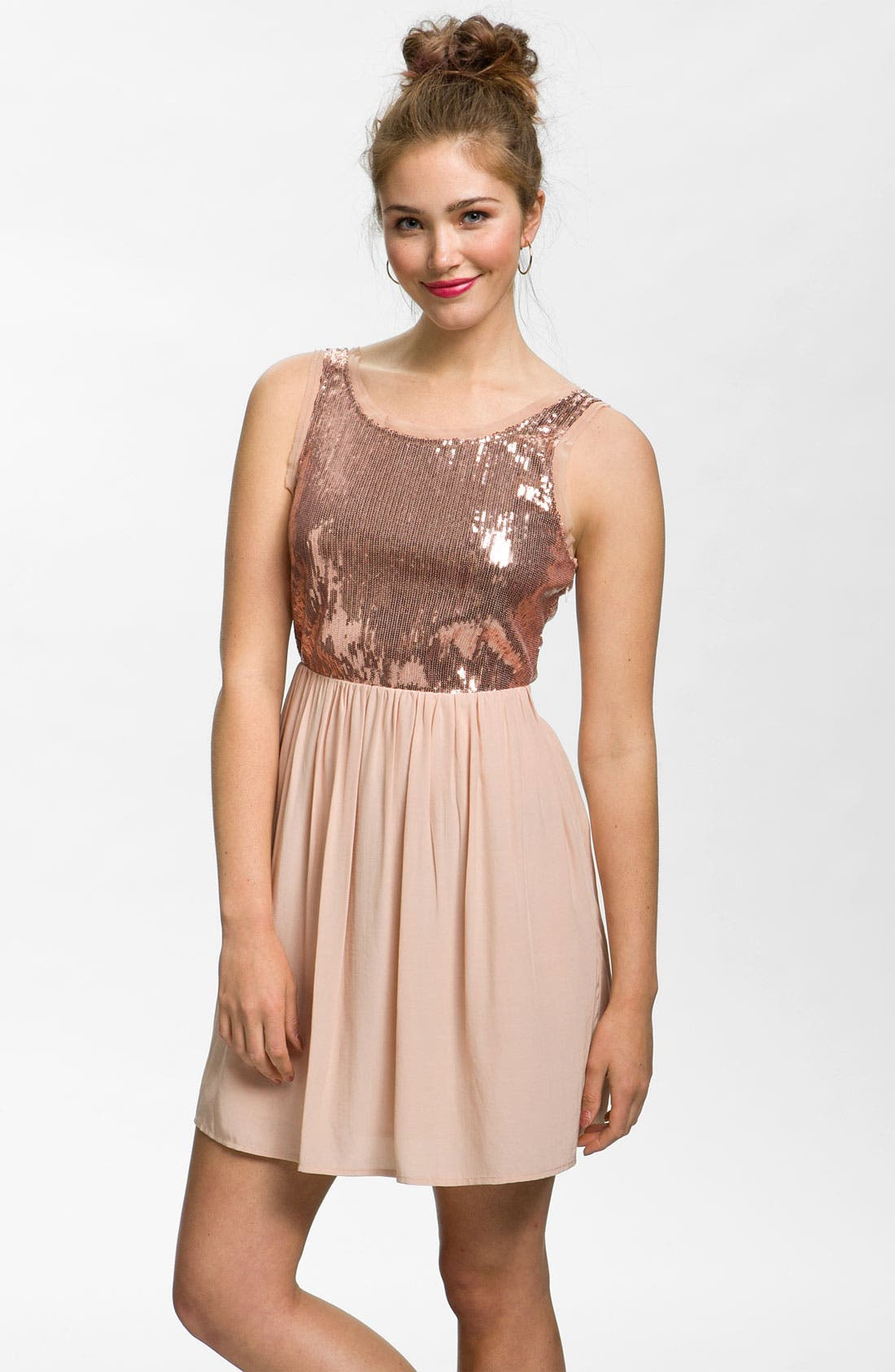 Alternate Image 1 Selected - Lush Sequin Bodice Party Dress (Juniors)