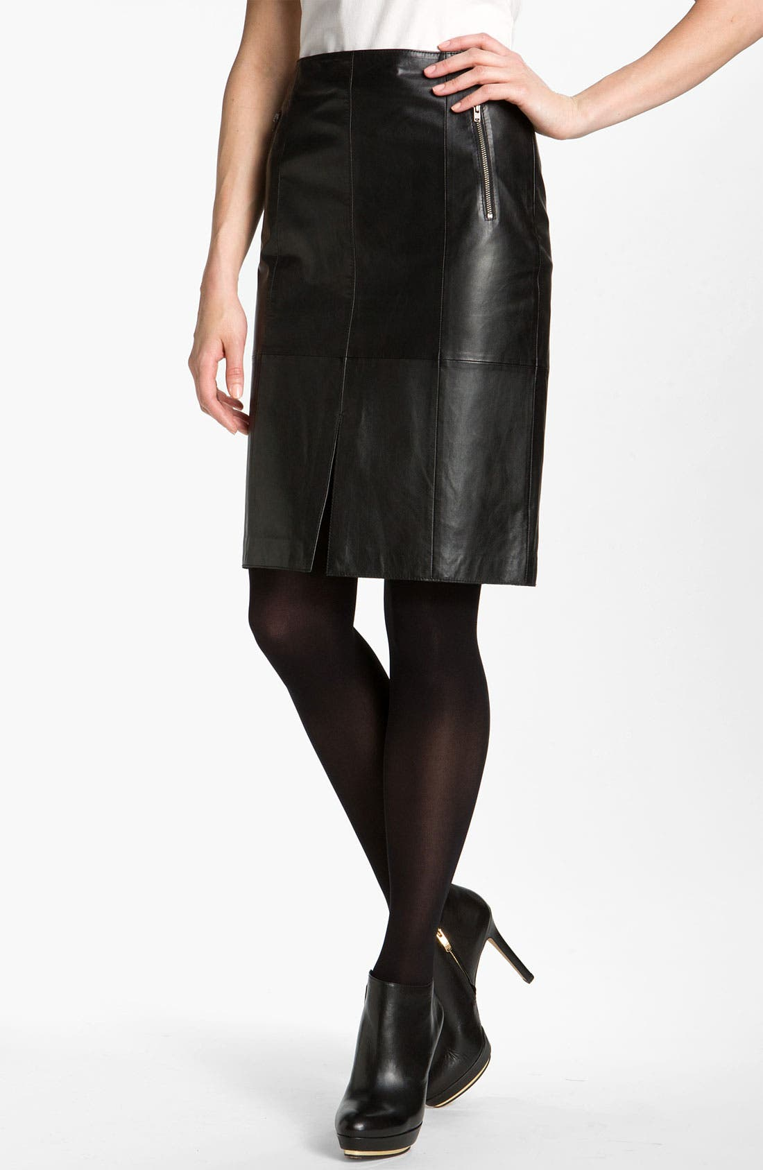 Main Image - Halogen® Seamed Leather Pencil Skirt