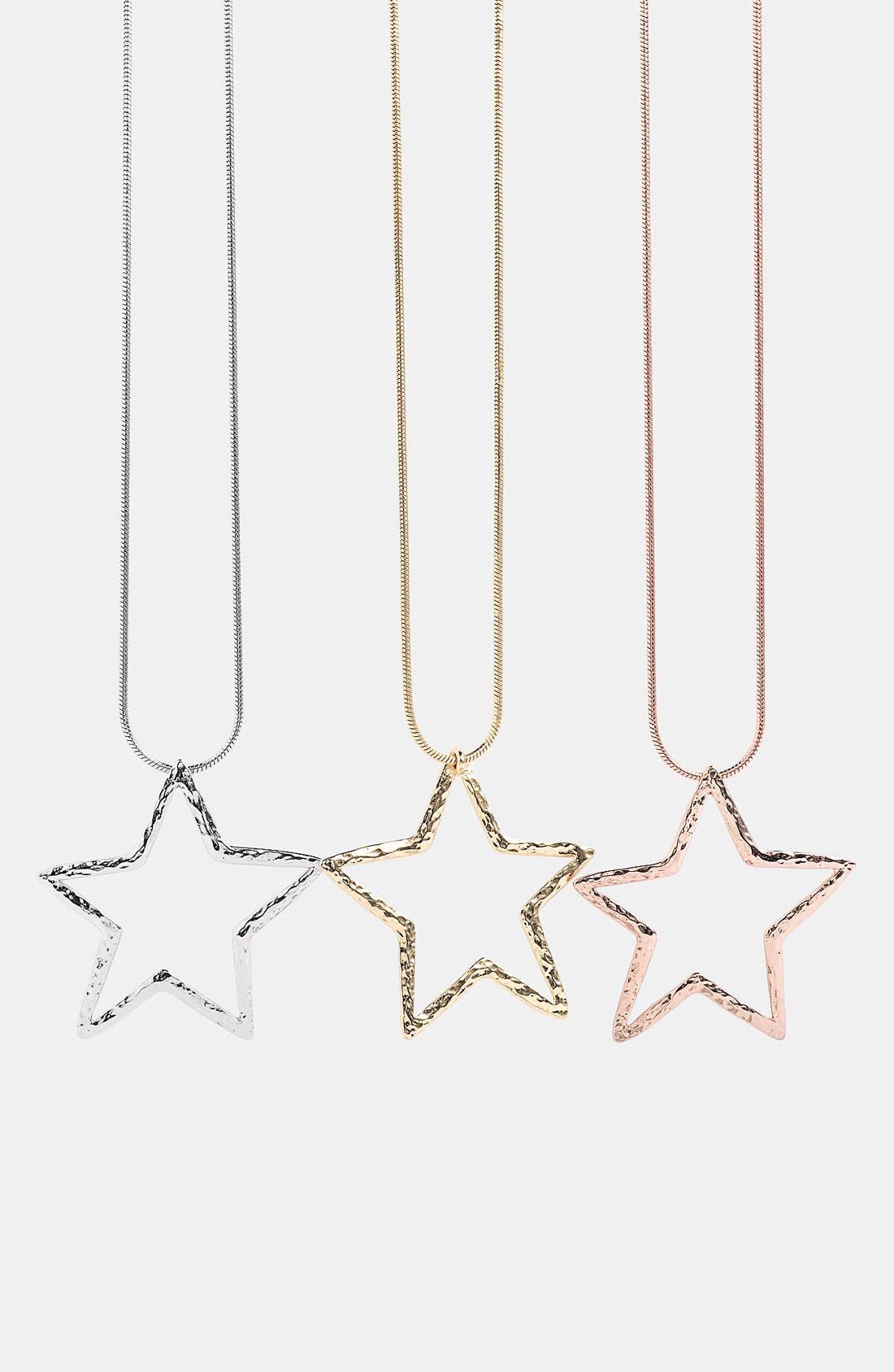 Alternate Image 1 Selected - Nordstrom Long Hammered Star Pendant Necklace