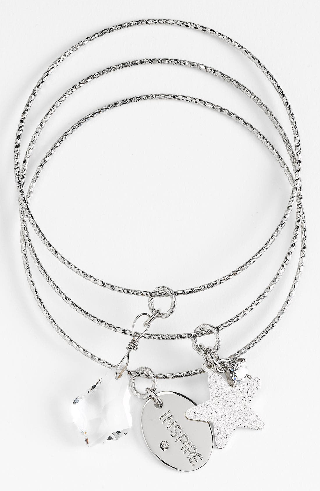 Main Image - Nordstrom 'Inspiration Charms - Inspire' Bangles (Set of 3)