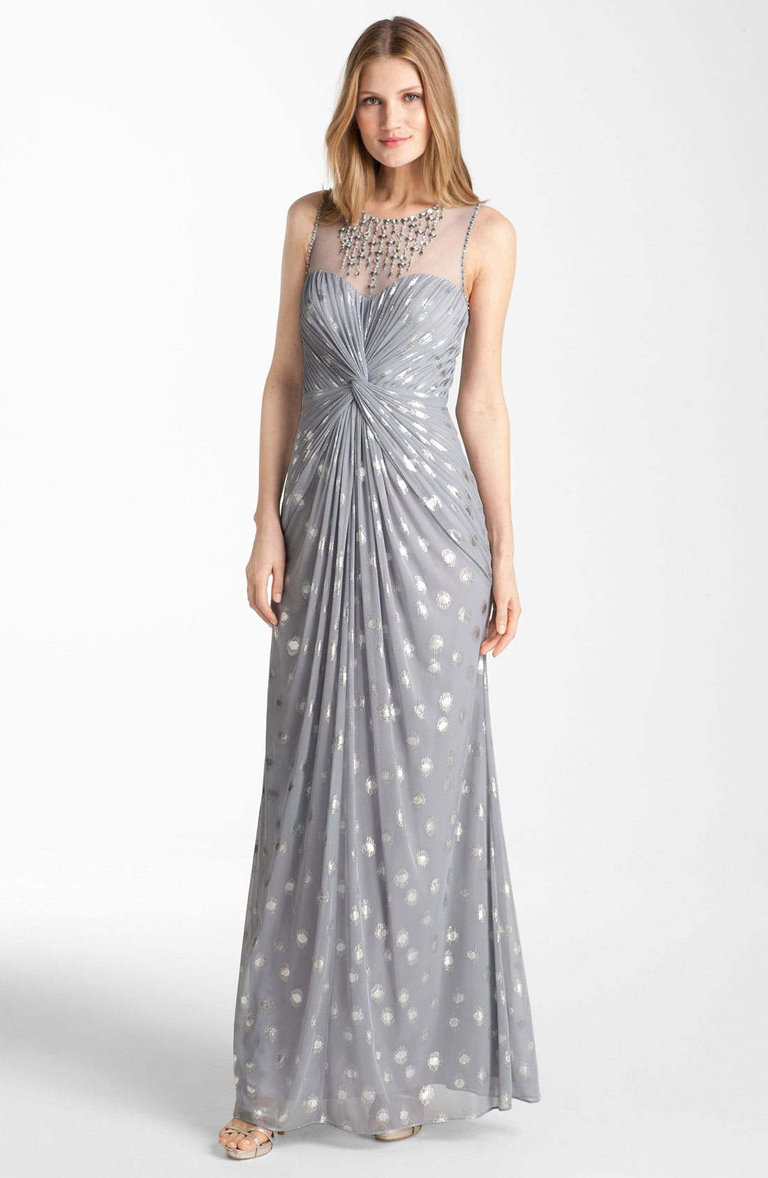 Alternate Image 1 Selected - Adrianna Papell Knot Front Metallic Mesh Gown
