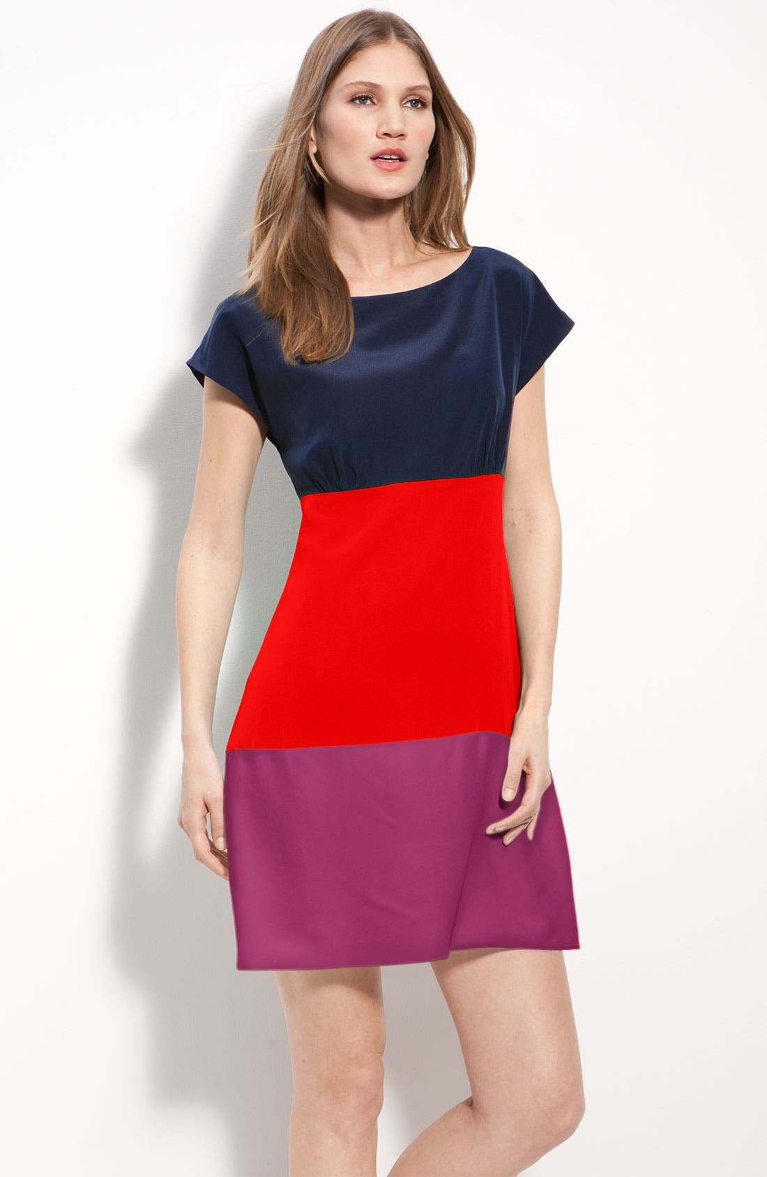 Main Image - Eliza J Colorblock Silk Crêpe de Chine Dress