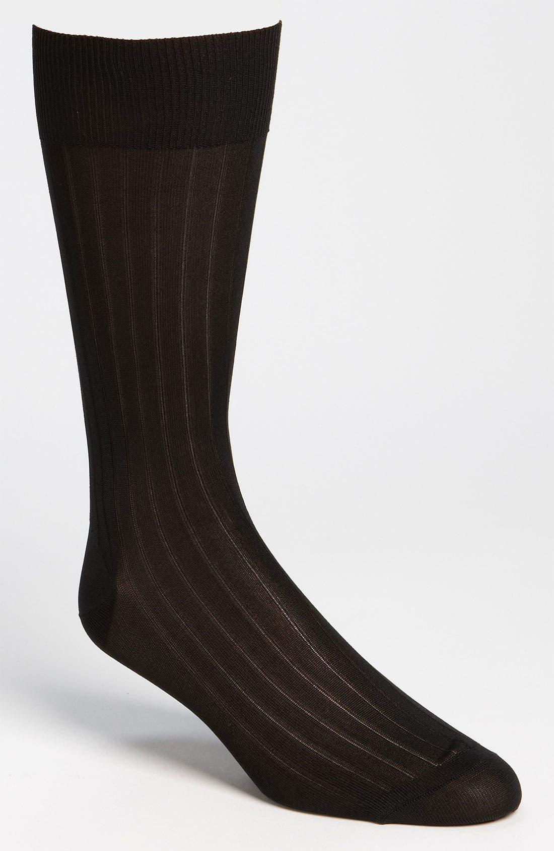 Main Image - Pantherella Silk Ribbed Mid Calf Formal Socks (Online Only)