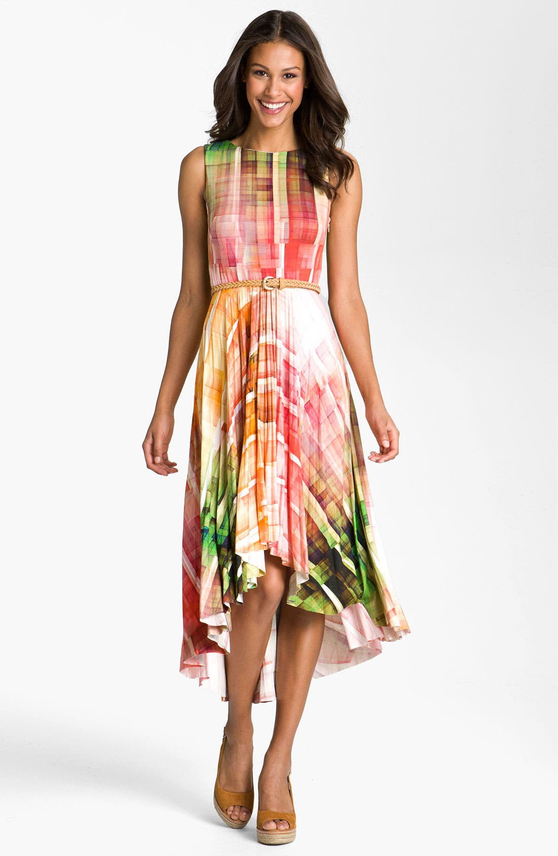 Alternate Image 1 Selected - Suzi Chin for Maggy Boutique Print High/Low Hemline Dress