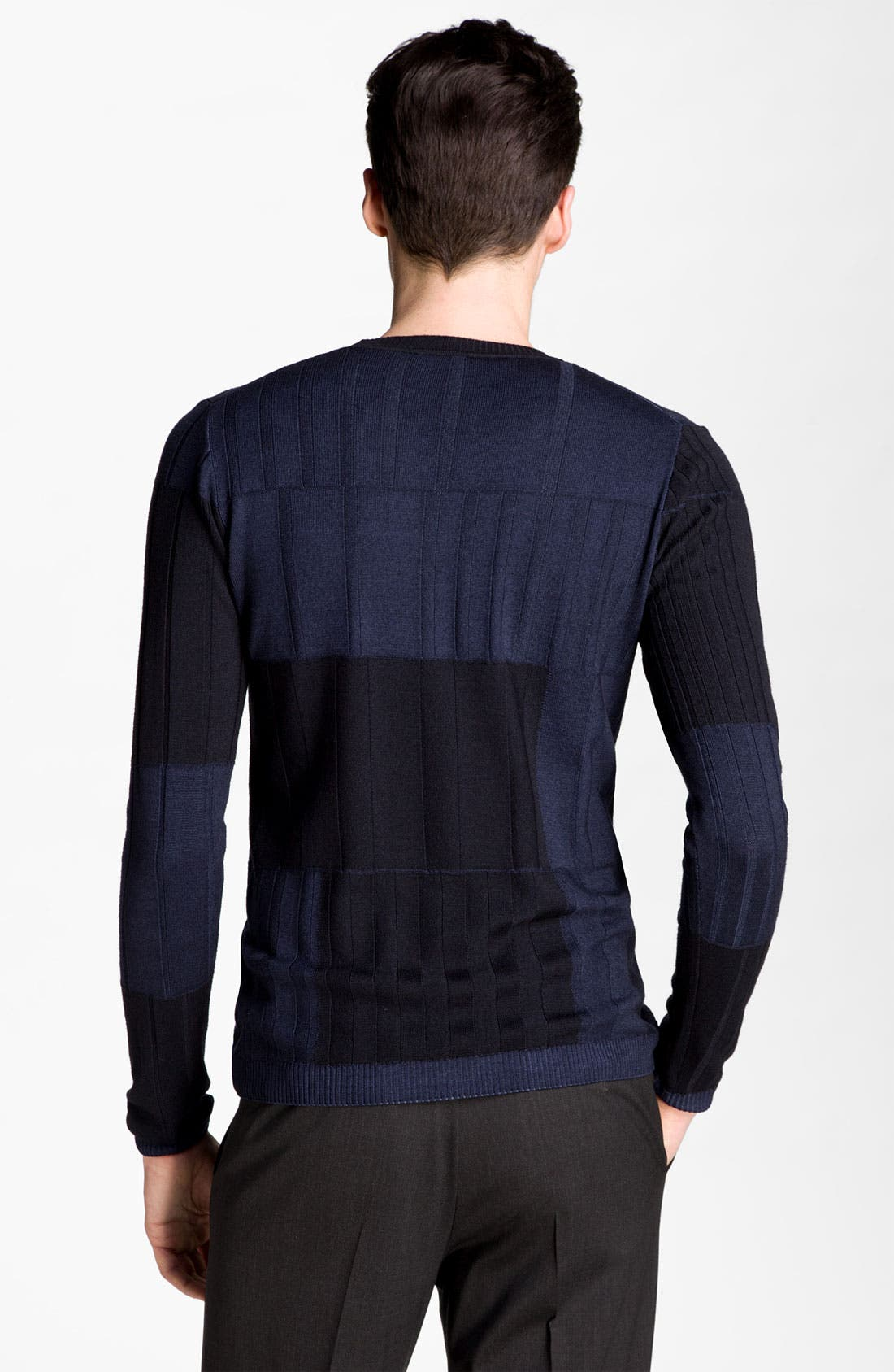 Alternate Image 2  - Armani Collezioni Colorblock Crewneck Sweater