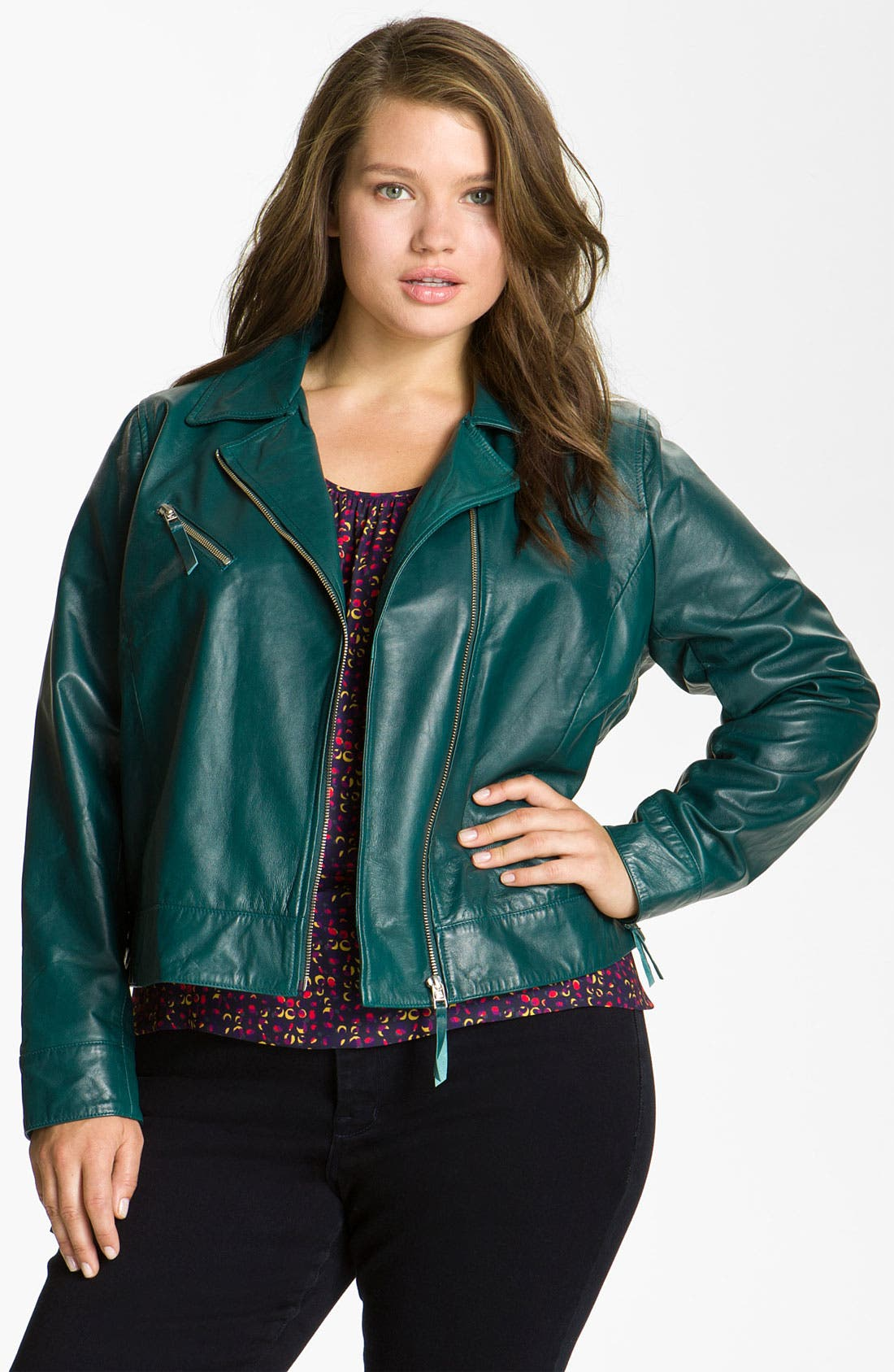 Alternate Image 3  - John Carlisle Leather Moto Jacket (Plus)