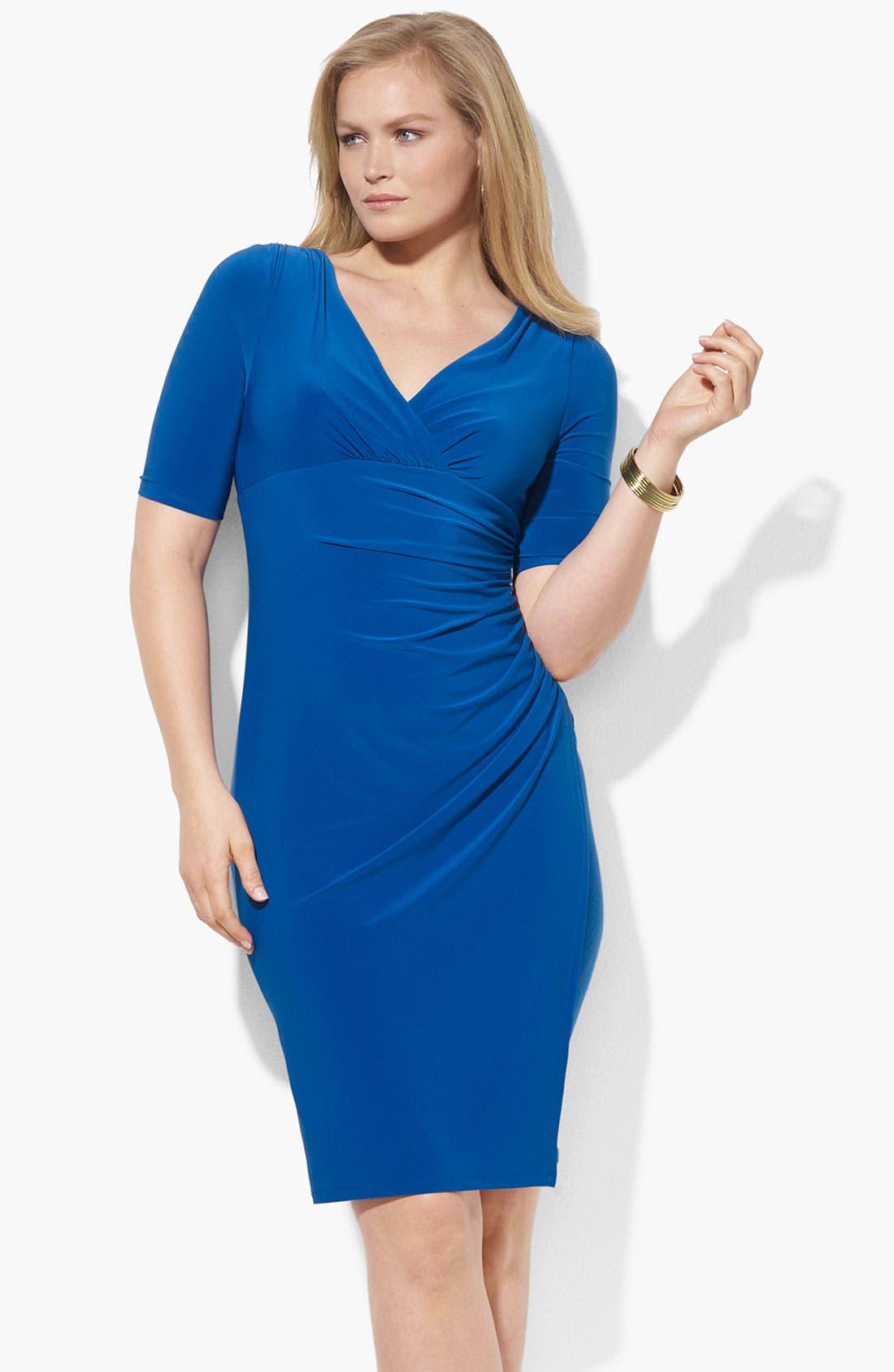 Main Image - Lauren Ralph Lauren Faux Wrap Jersey Dress (Plus)