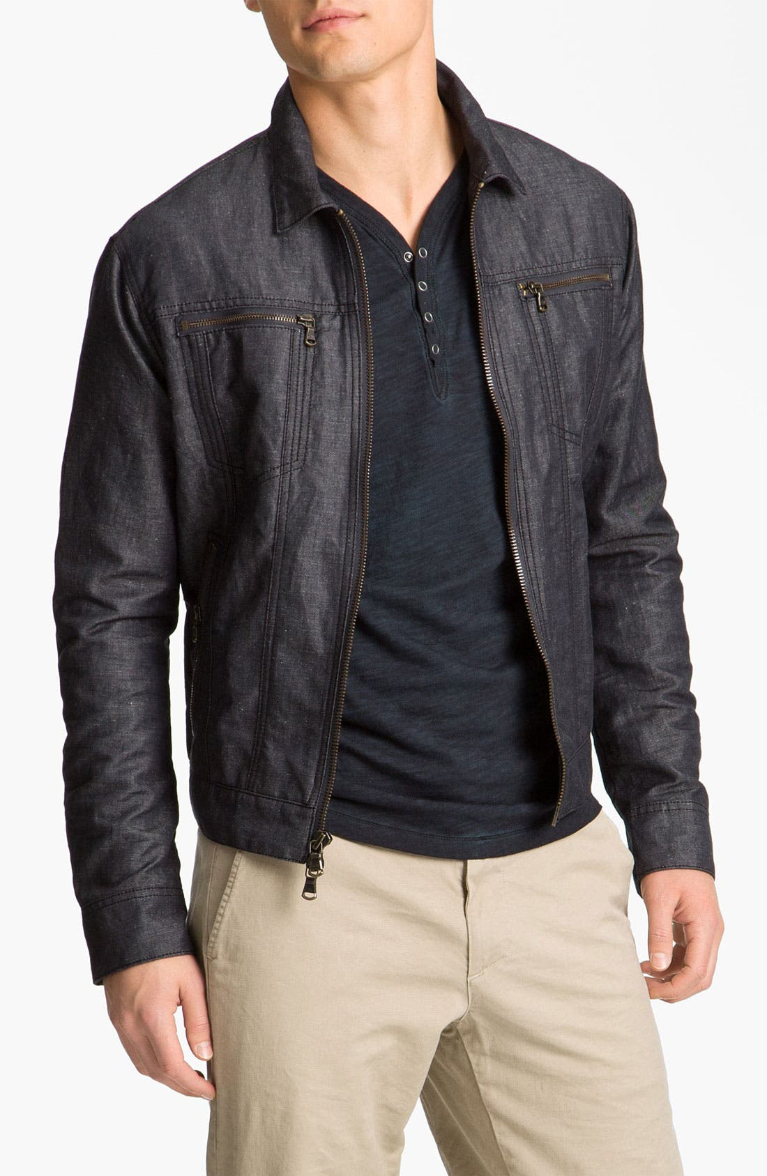 Cotton & Linen Jean Jacket,                         Main,                         color, Midnight
