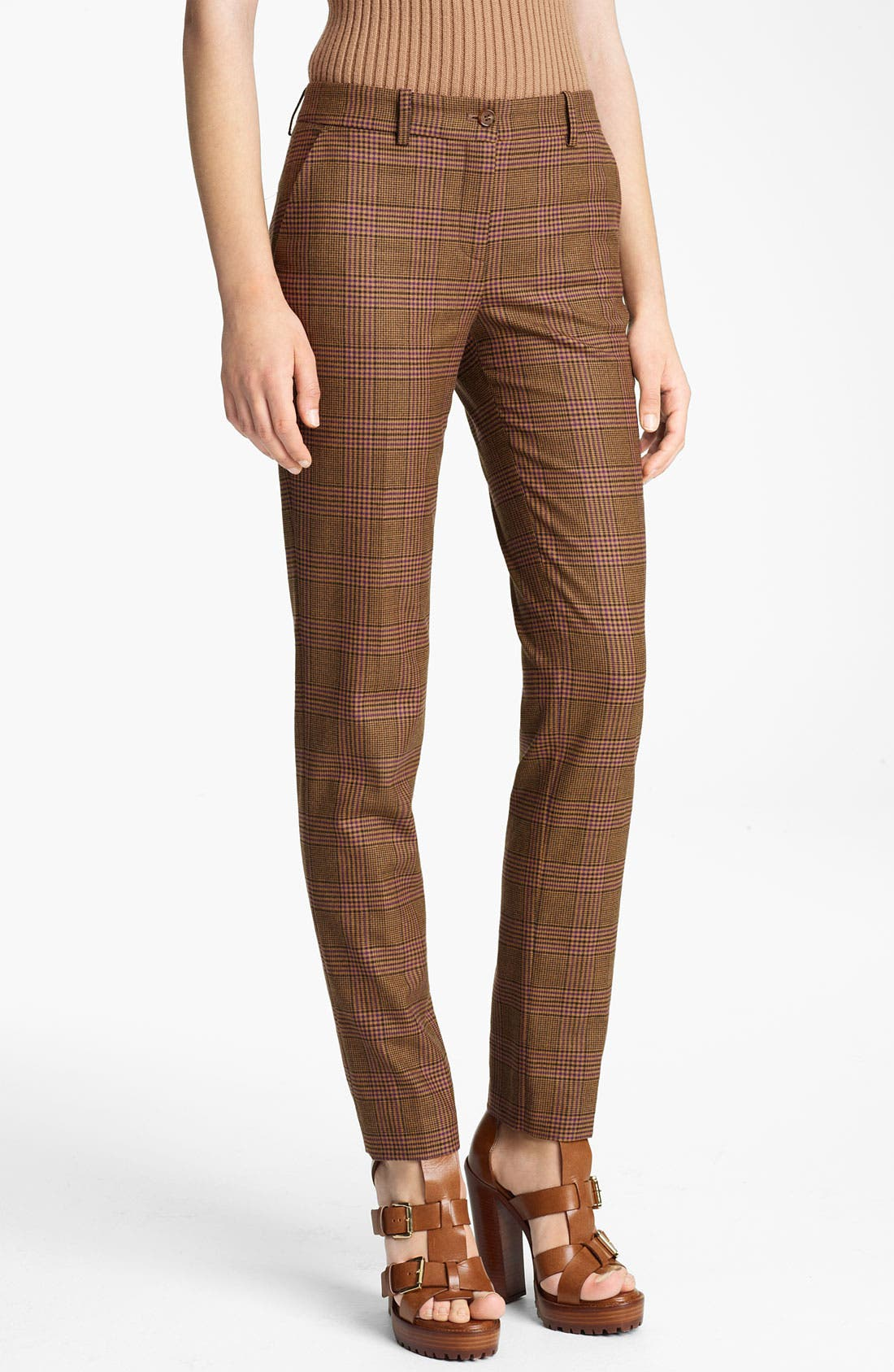 Main Image - Michael Kors 'Samantha' Skinny Plaid Wool Pants