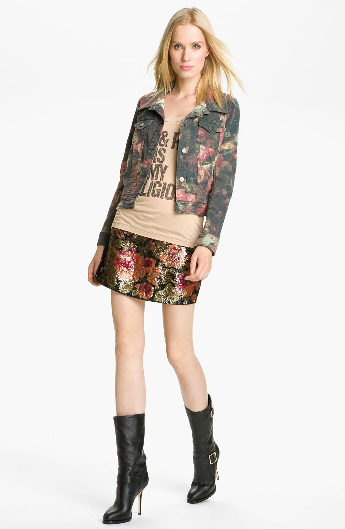 Alternate Image 3  - Haute Hippie Floral Sequin Miniskirt