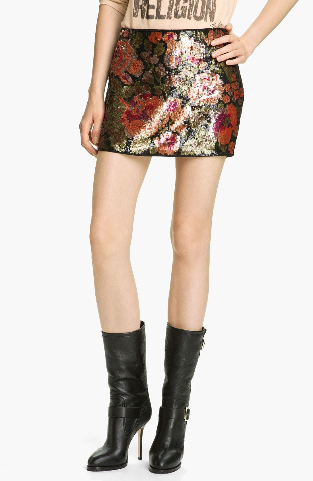 Alternate Image 1 Selected - Haute Hippie Floral Sequin Miniskirt