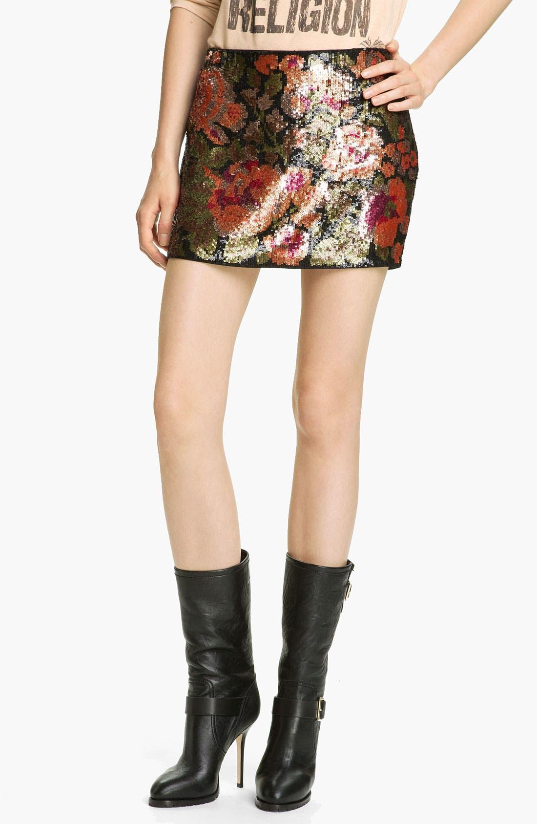 Main Image - Haute Hippie Floral Sequin Miniskirt