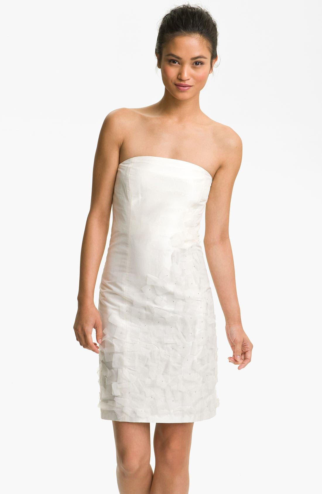 Main Image - Suzi Chin for Maggy Boutique Organza Appliqué Strapless Dupioni Dress