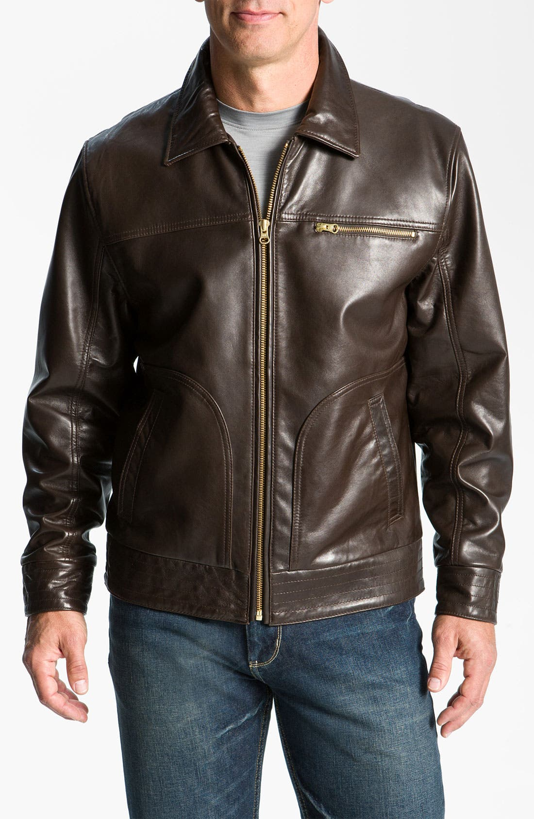 Main Image - Cutter & Buck 'Wildridge' Leather Bomber Jacket (Big & Tall)