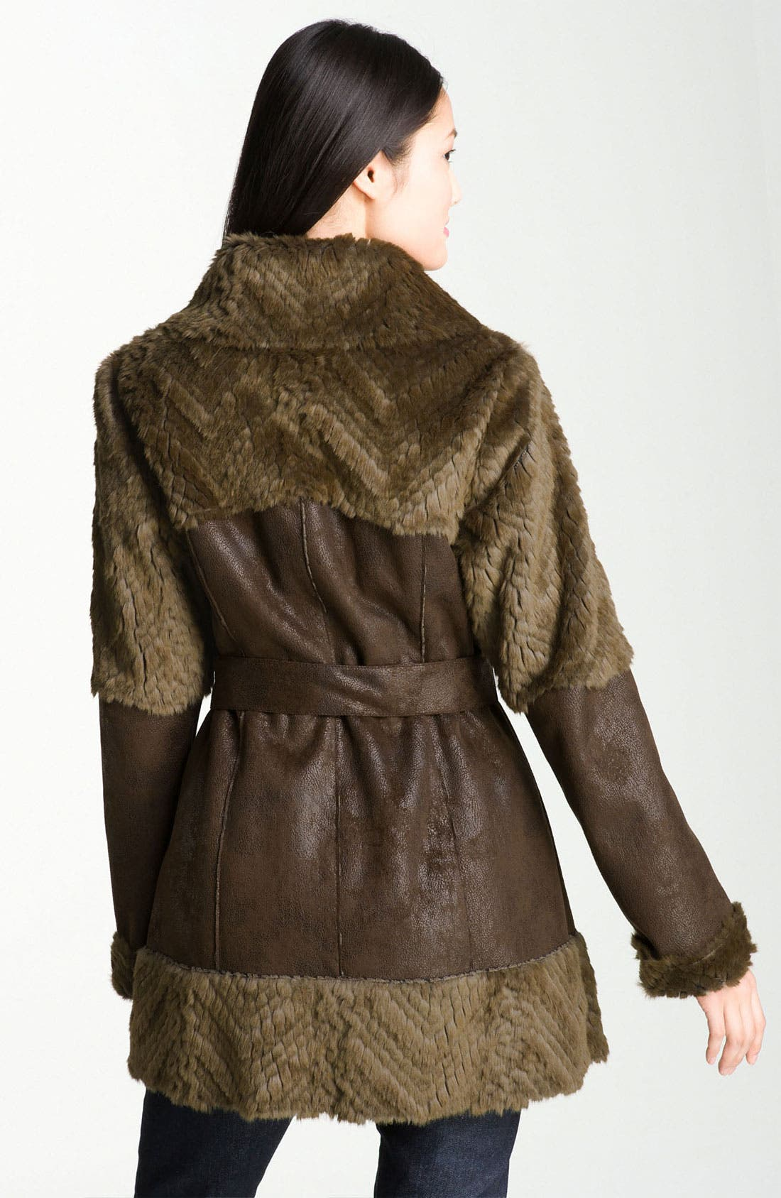 Alternate Image 2  - Kenneth Cole New York Belted Faux Shearling Coat