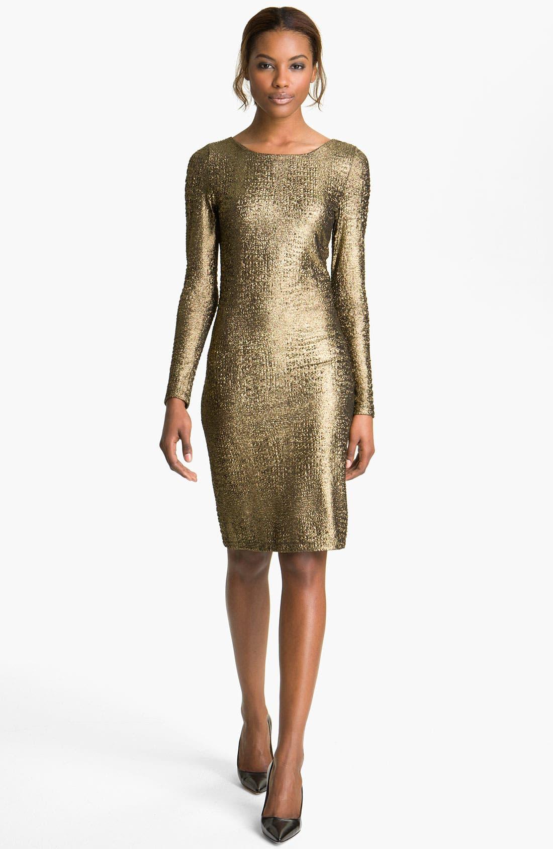 Alternate Image 1 Selected - Alice + Olivia 'Selma' Mesh Back Lamé Sheath Dress