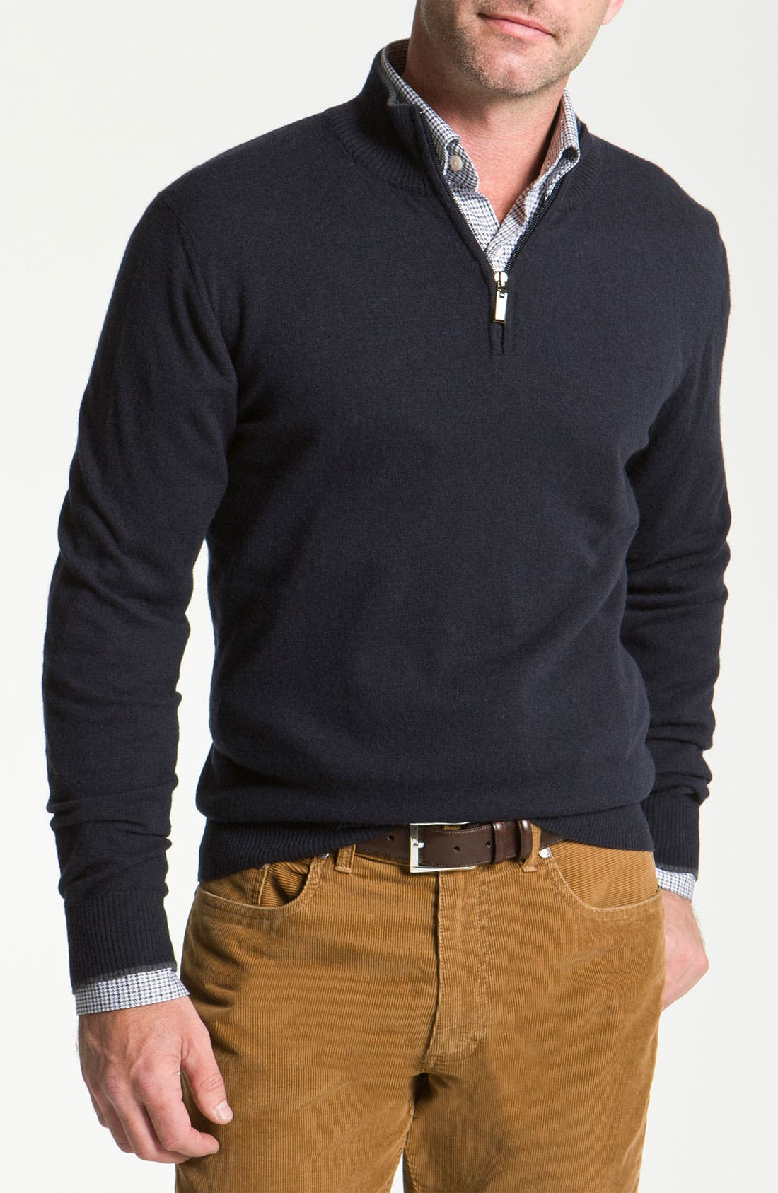 Main Image - Canali Half Zip Merino Wool Sweater