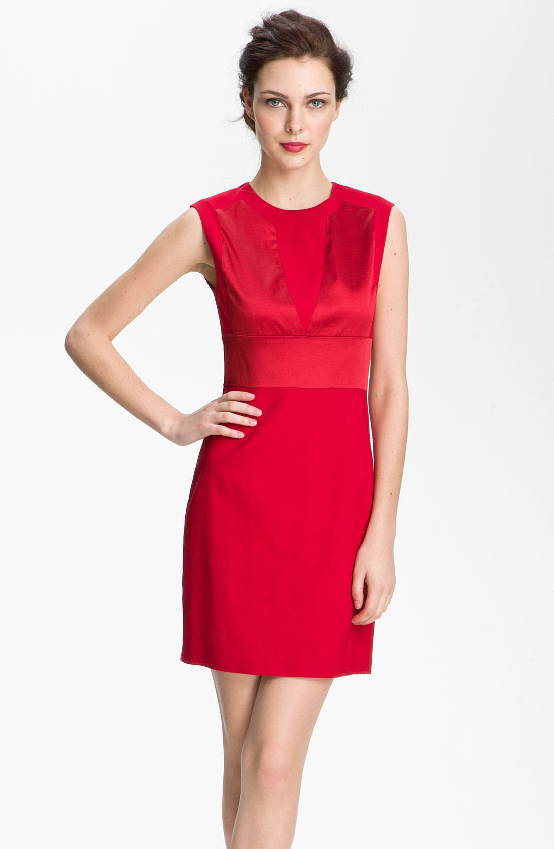 Main Image - Aidan by Aidan Mattox Satin Inset Sheath Dress