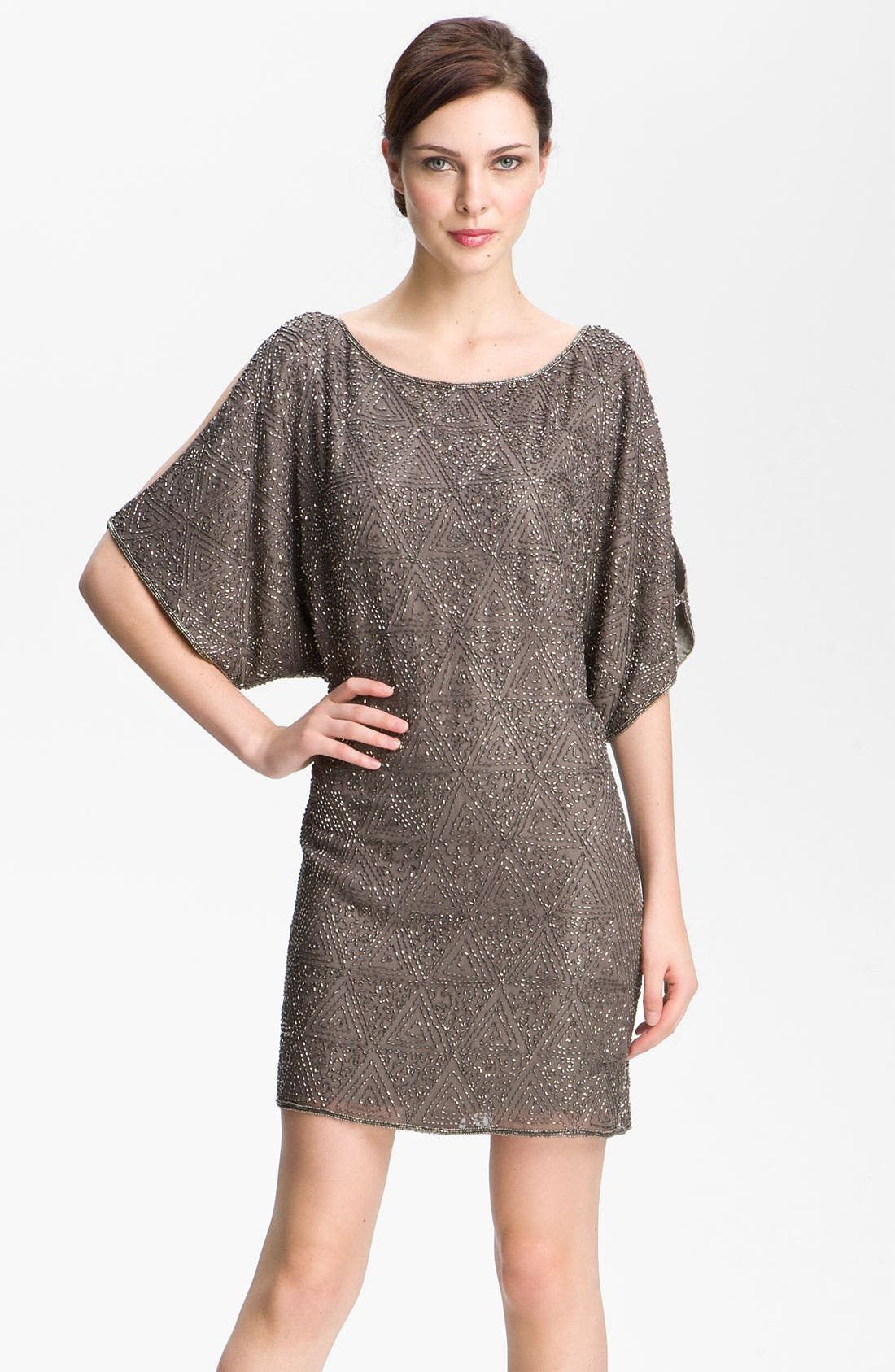 Main Image - Pisarro Nights Beaded Split Sleeve Silk Shift Dress