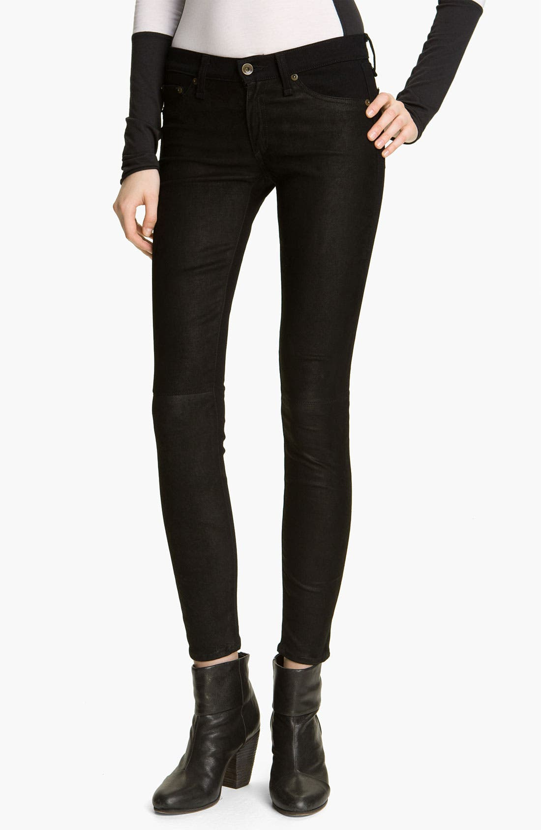 Alternate Image 1 Selected - rag & bone/JEAN Skinny Denim & Leather Jeans