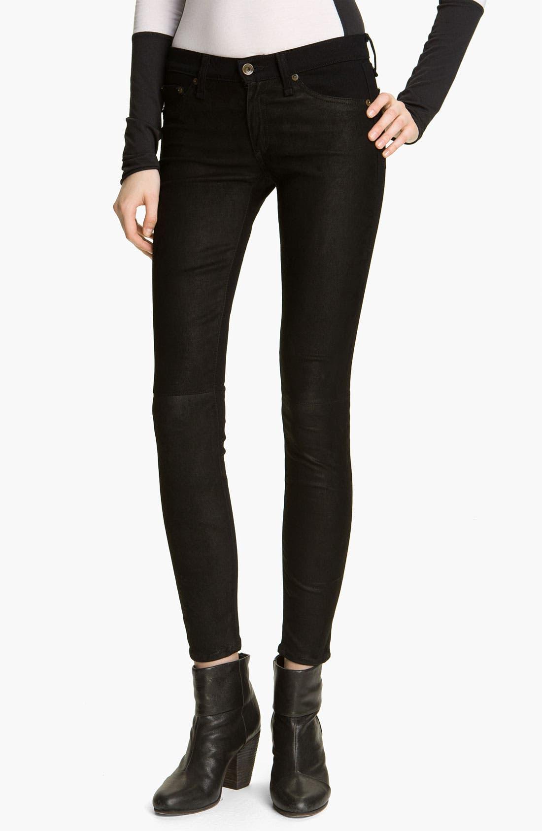 Main Image - rag & bone/JEAN Skinny Denim & Leather Jeans