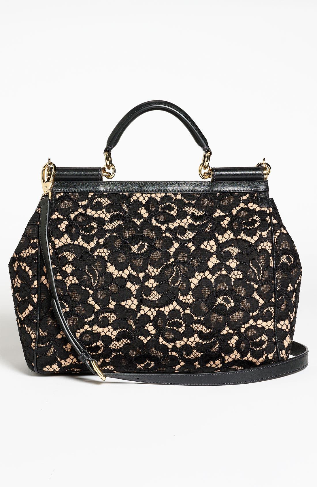 Alternate Image 4  - Dolce&Gabbana 'Miss Sicily' Leather & Lace Satchel