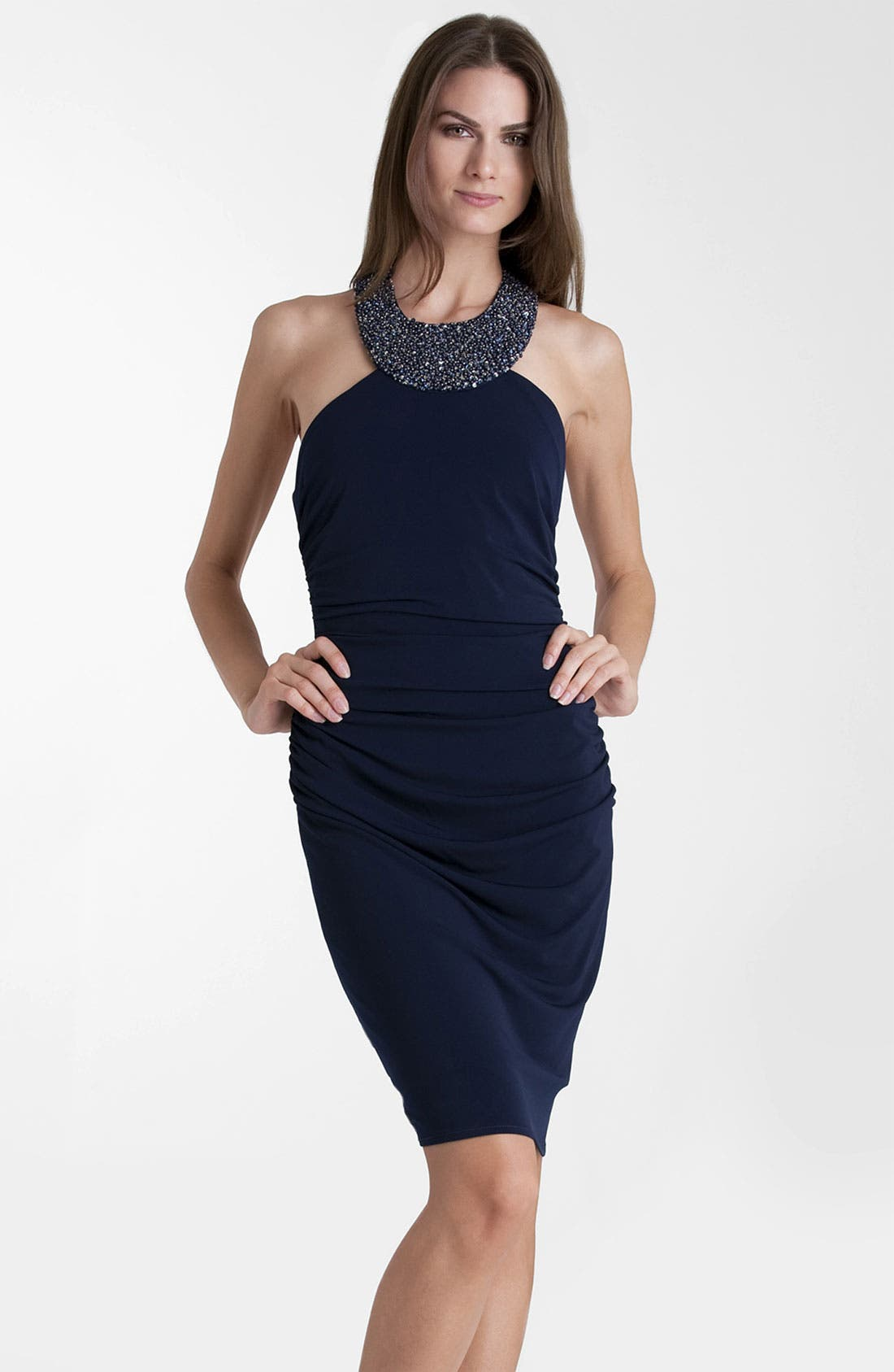 Main Image - JS Boutique Beaded Jersey Halter Dress