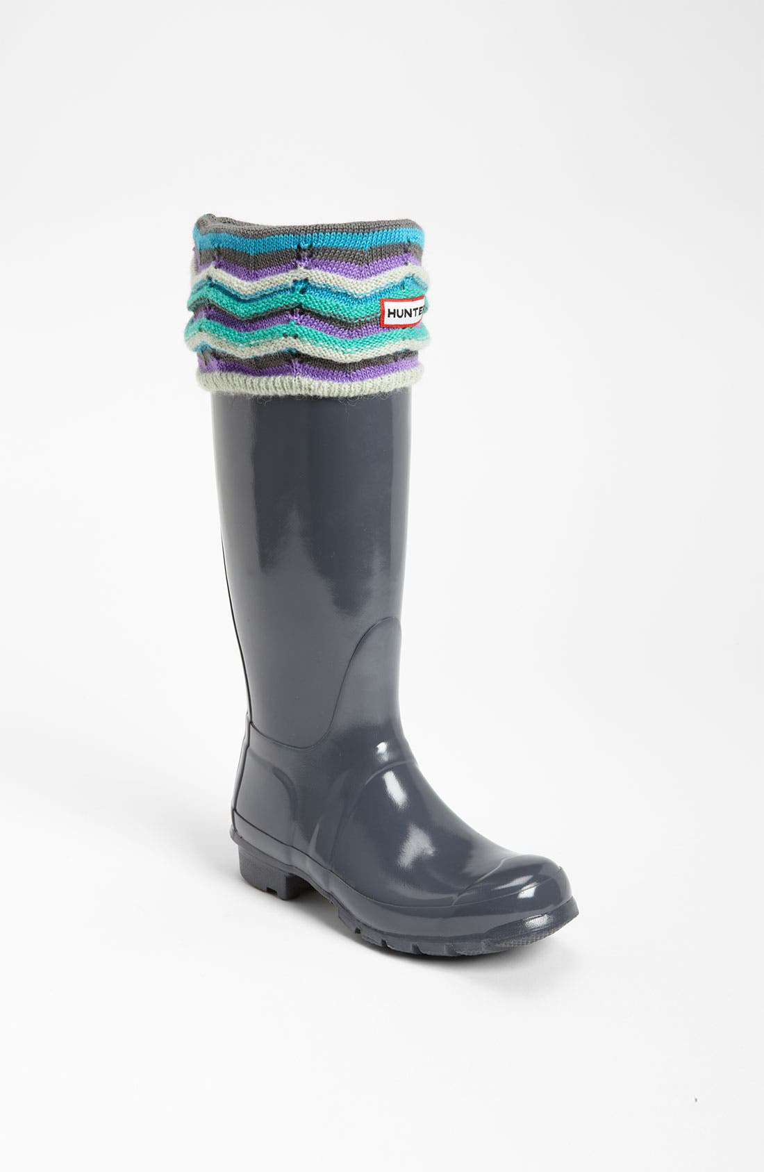 Main Image - Hunter Tall Gloss Rain Boot & Zigzag Cuff Welly Socks