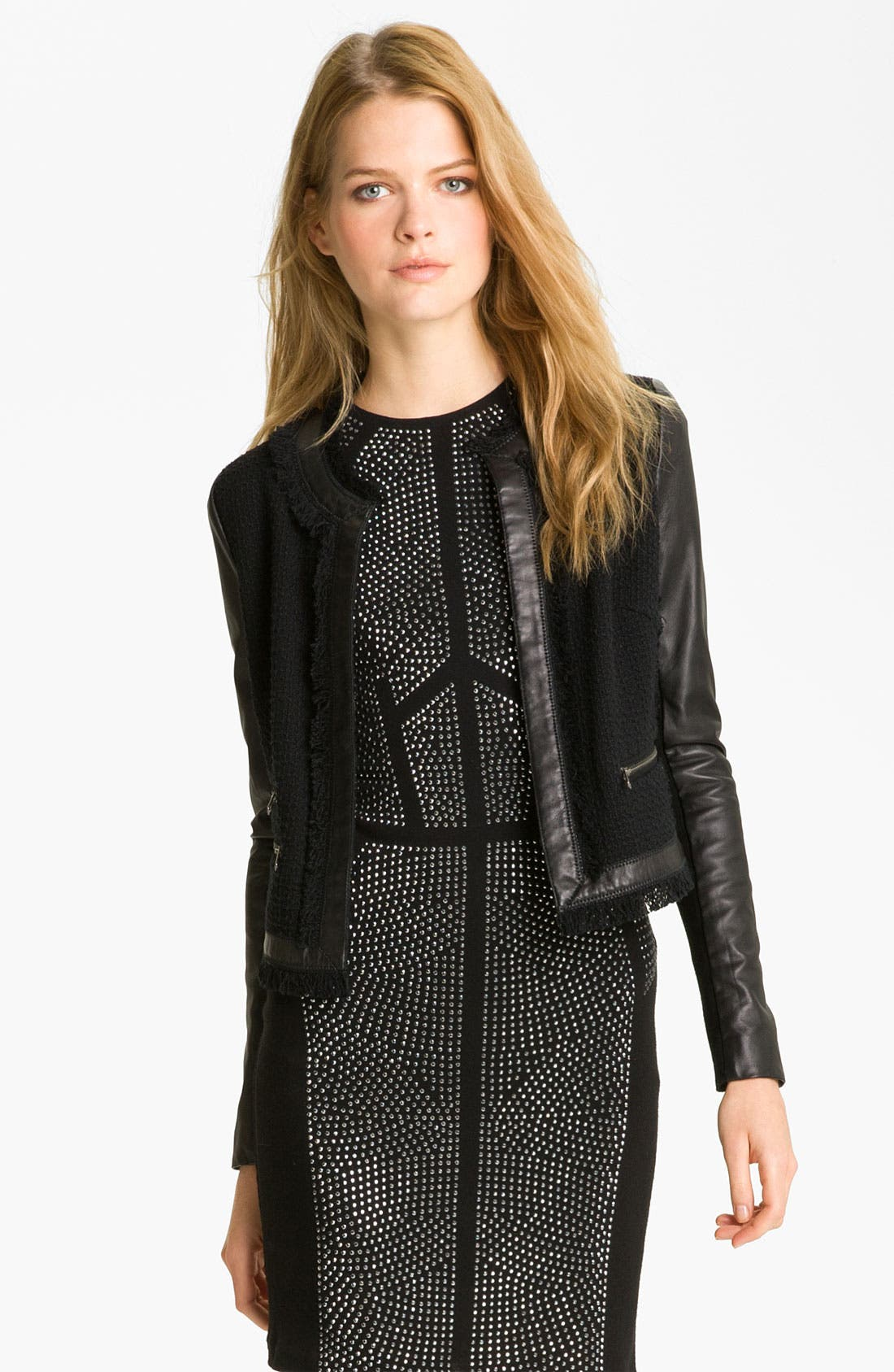 Alternate Image 1 Selected - Rebecca Taylor Tweed & Leather Jacket