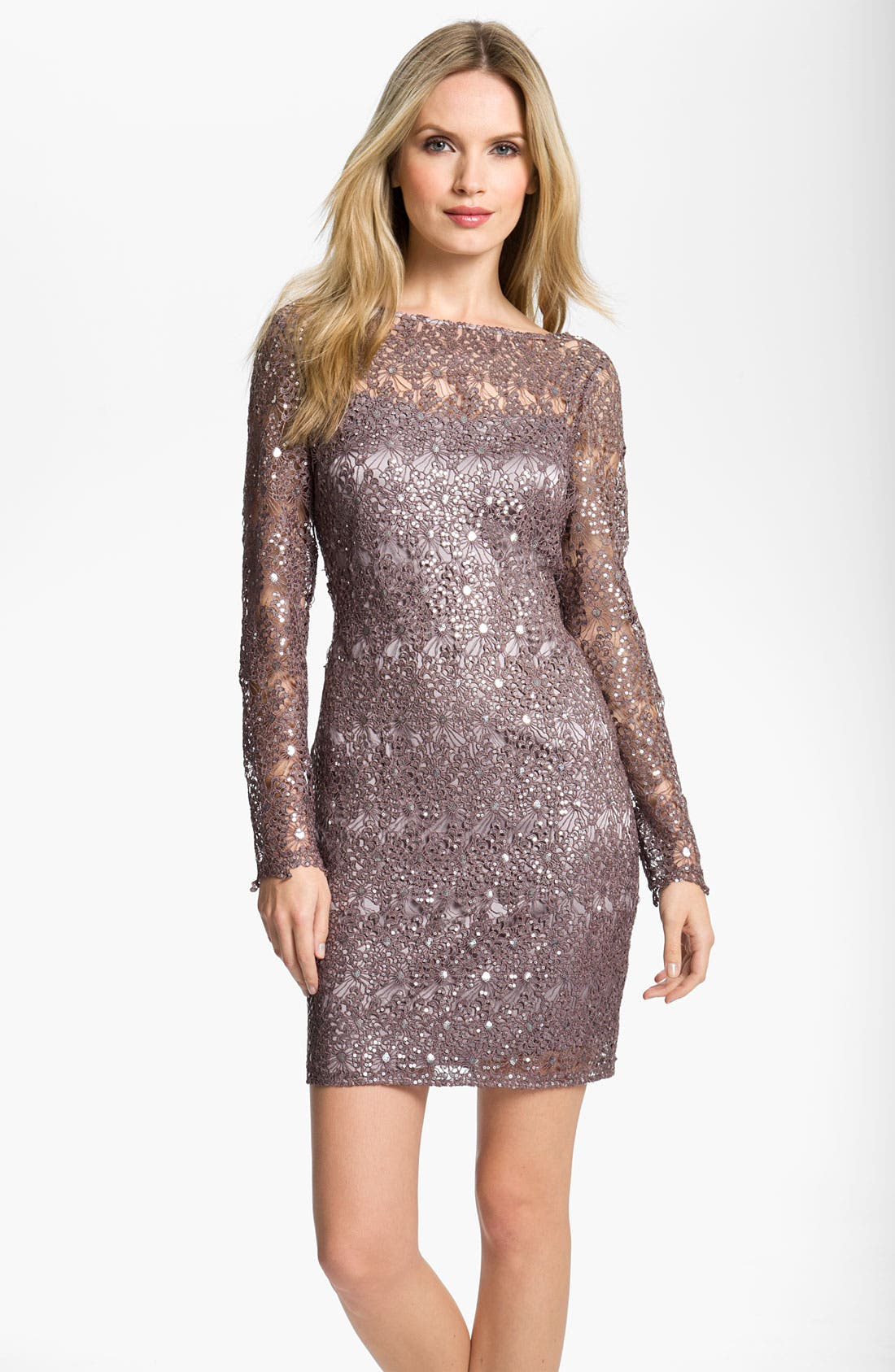 Alternate Image 1 Selected - Kay Unger V-Back Metallic Lace Sheath Dress