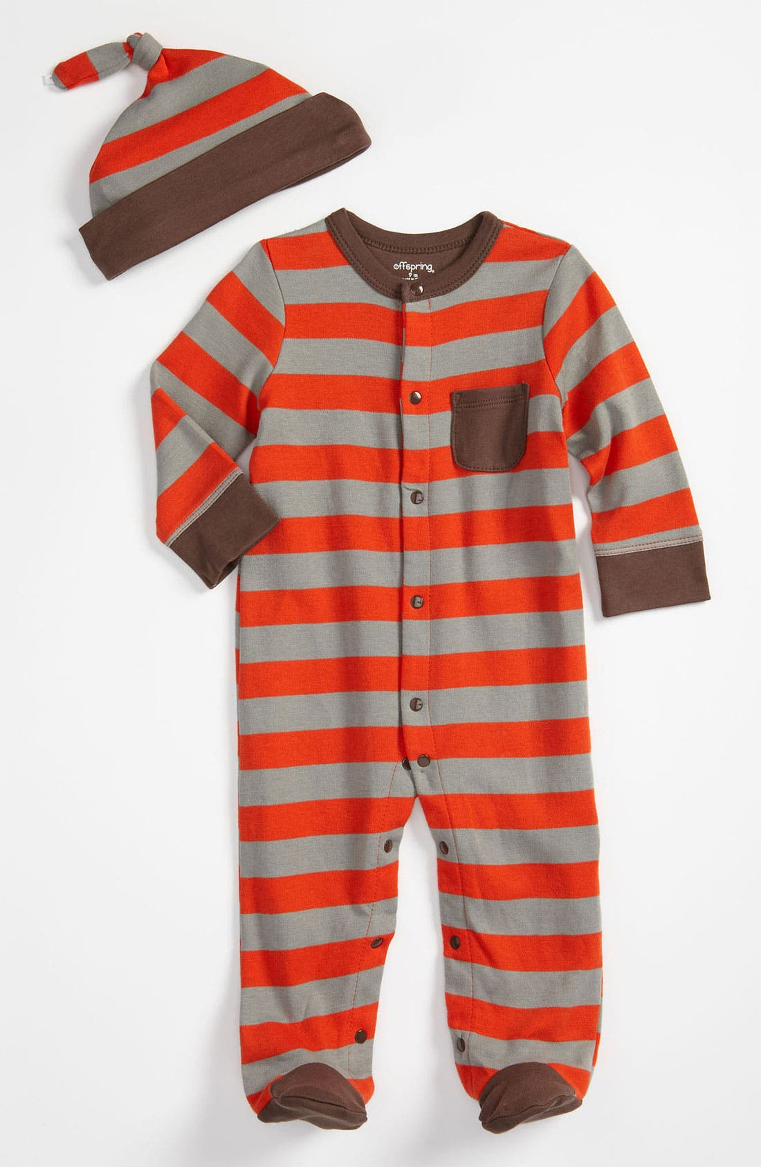 Alternate Image 1 Selected - Offspring Stripe Footie & Hat Set (Infant)