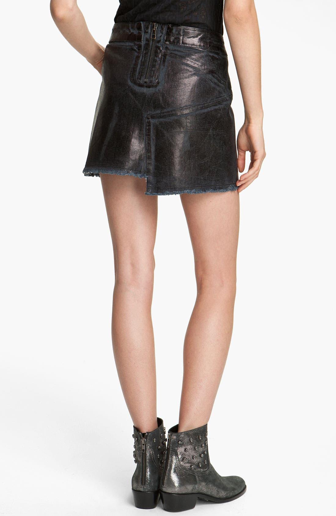 Alternate Image 2  - Zadig & Voltaire Oil Washed Stretch Denim Miniskirt