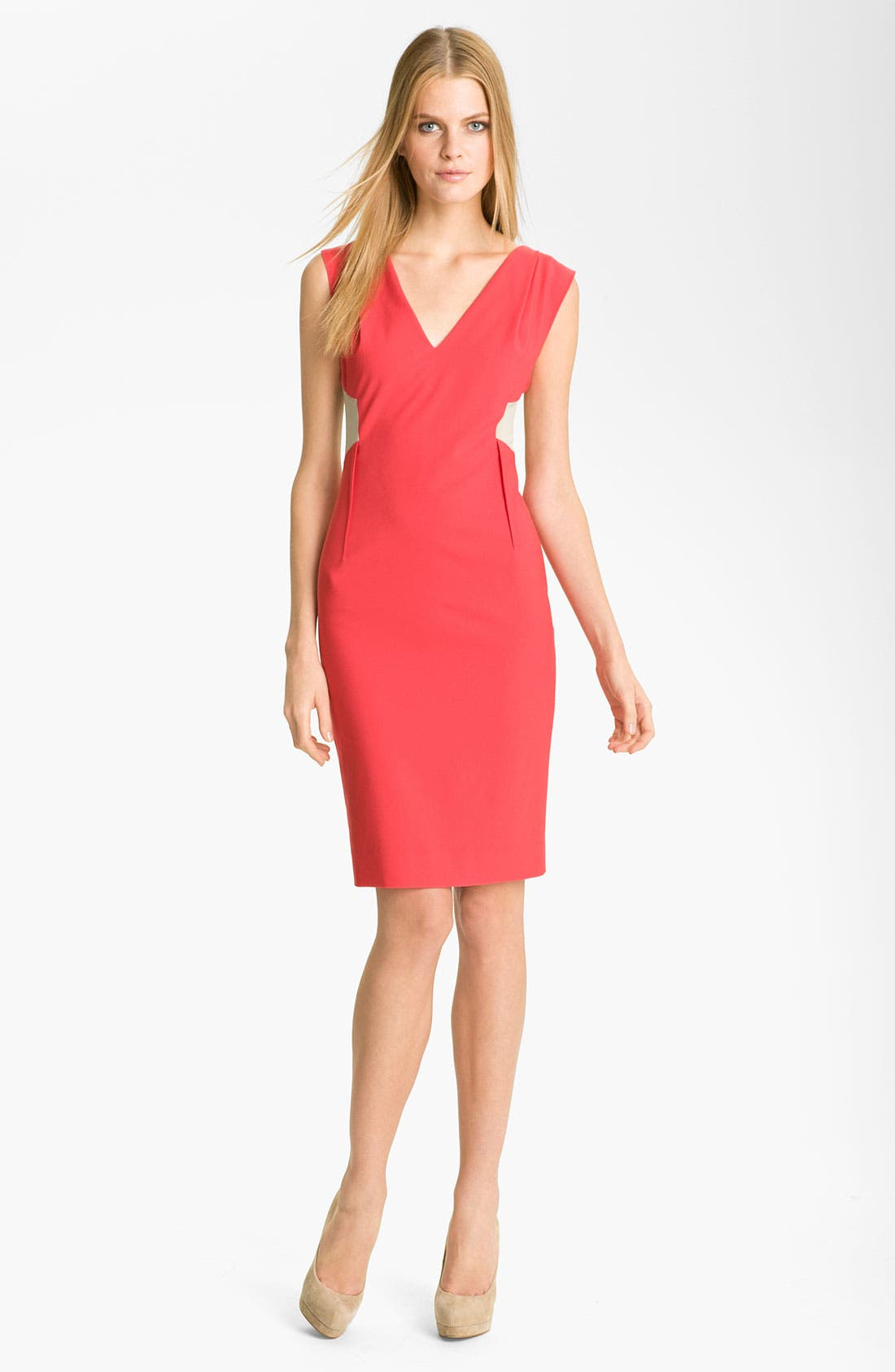 Main Image - Rachel Roy Colorblock Tropical Wool Sheath Dress