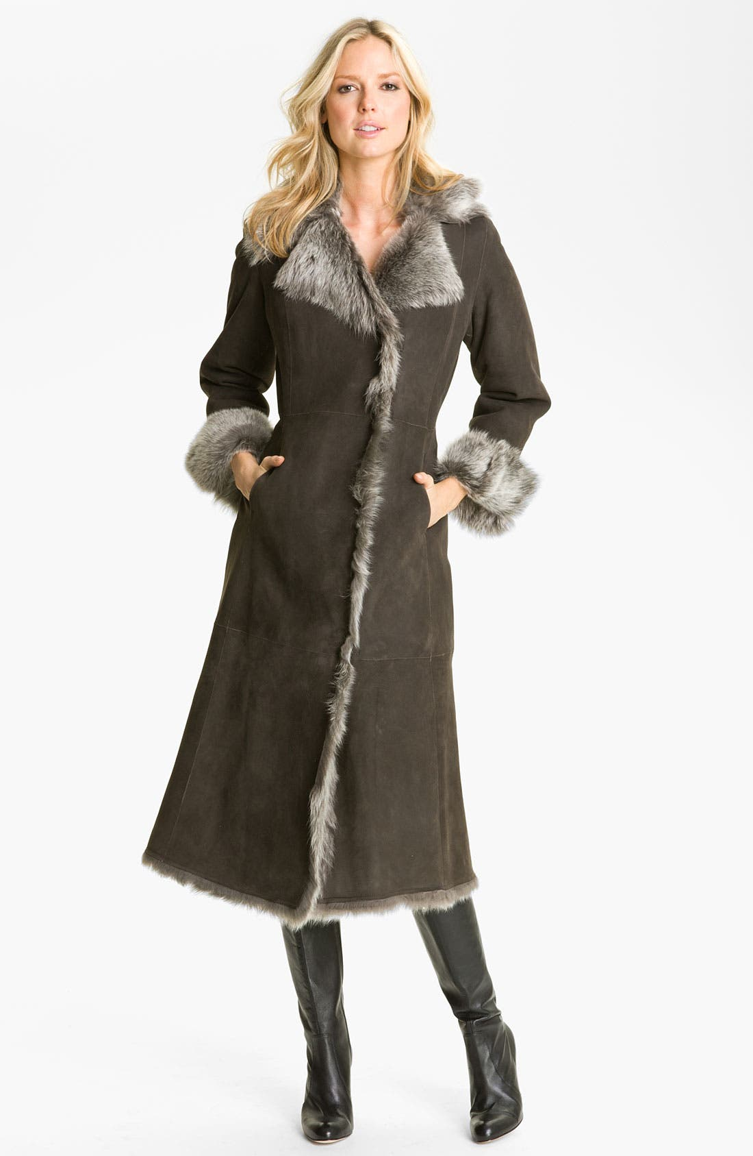 Alternate Image 1 Selected - Cole Haan Long Shearling Coat