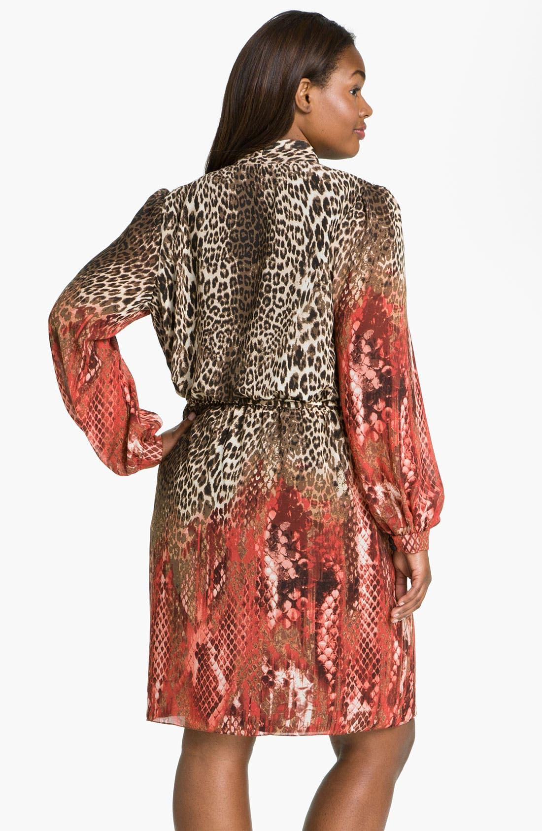 Alternate Image 2  - Donna Ricco Animal Print Surplice Chiffon Dress (Plus Size)