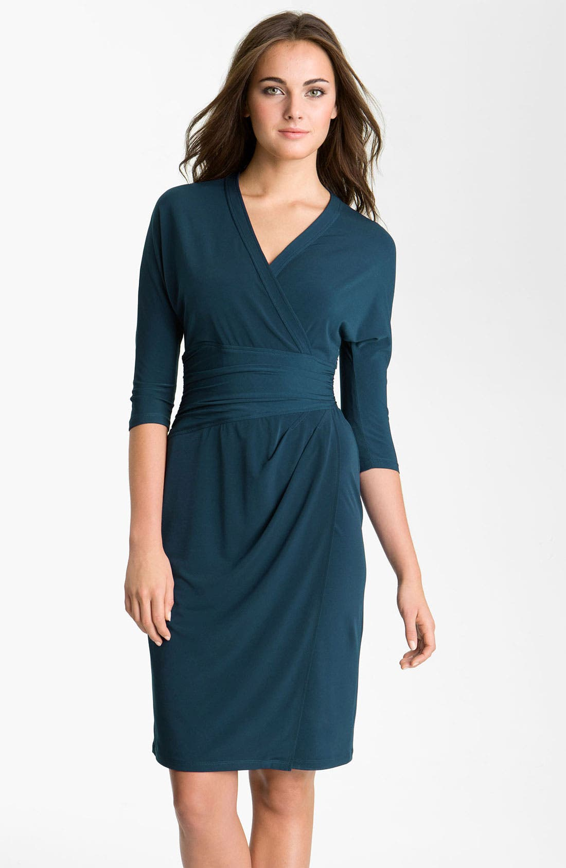 Main Image - Suzi Chin for Maggy Boutique Elbow Sleeve Faux Wrap Dress
